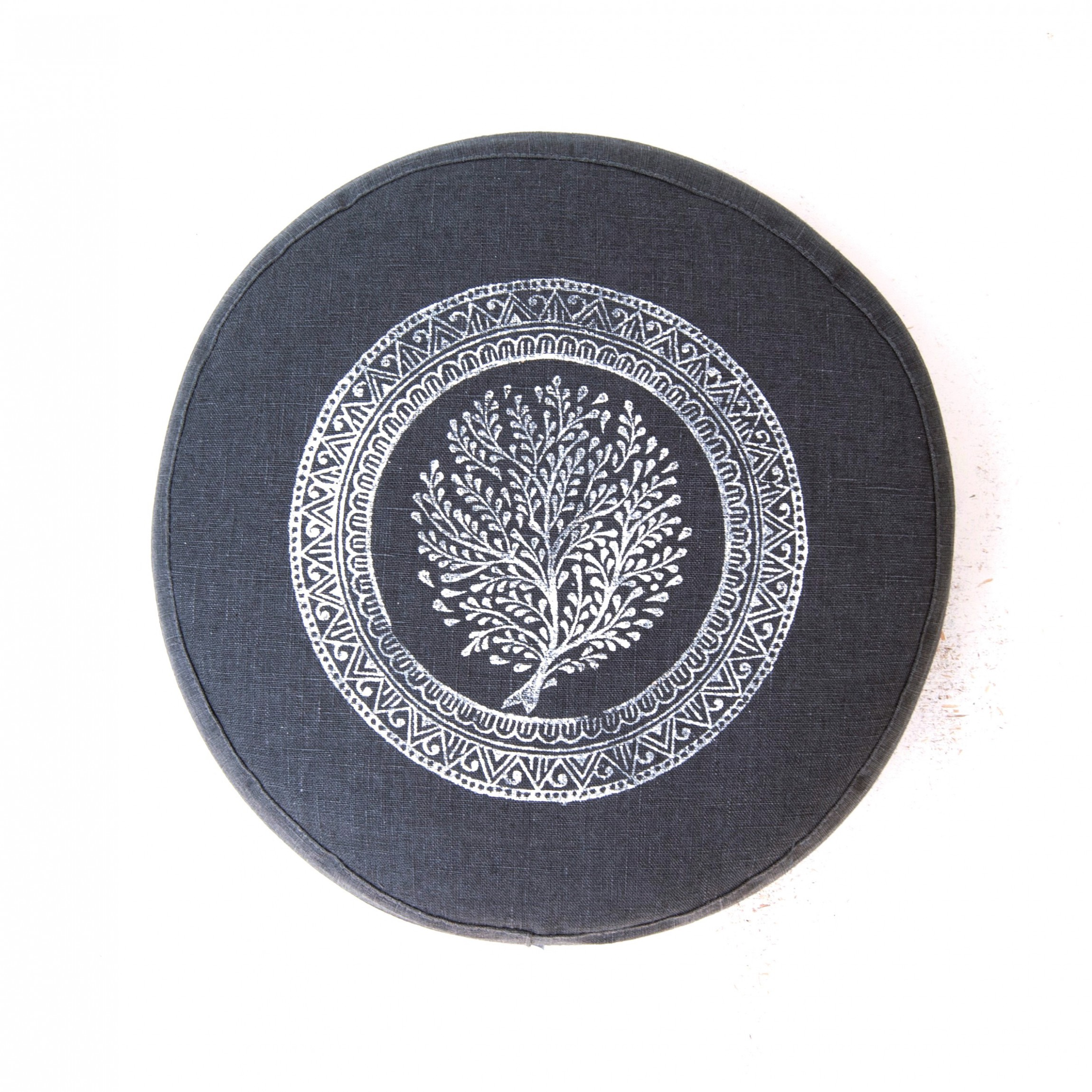 Top view of the Tree of Life meditation cushion by Pure Prana Label
