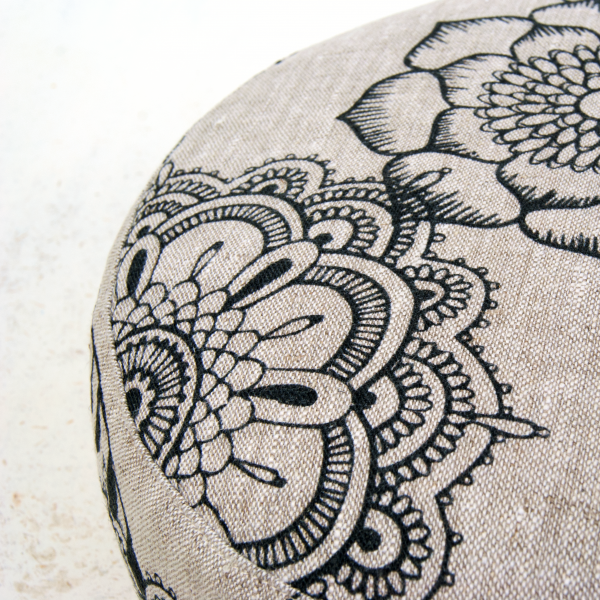 Close up of the Indigo Bliss meditation cushion by Pure Prana Label