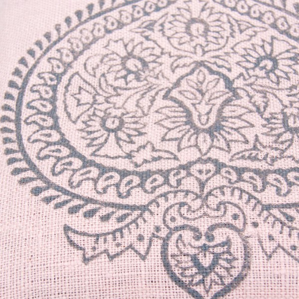 Close up handprinted singing bowl cushion by Pure Prana Label