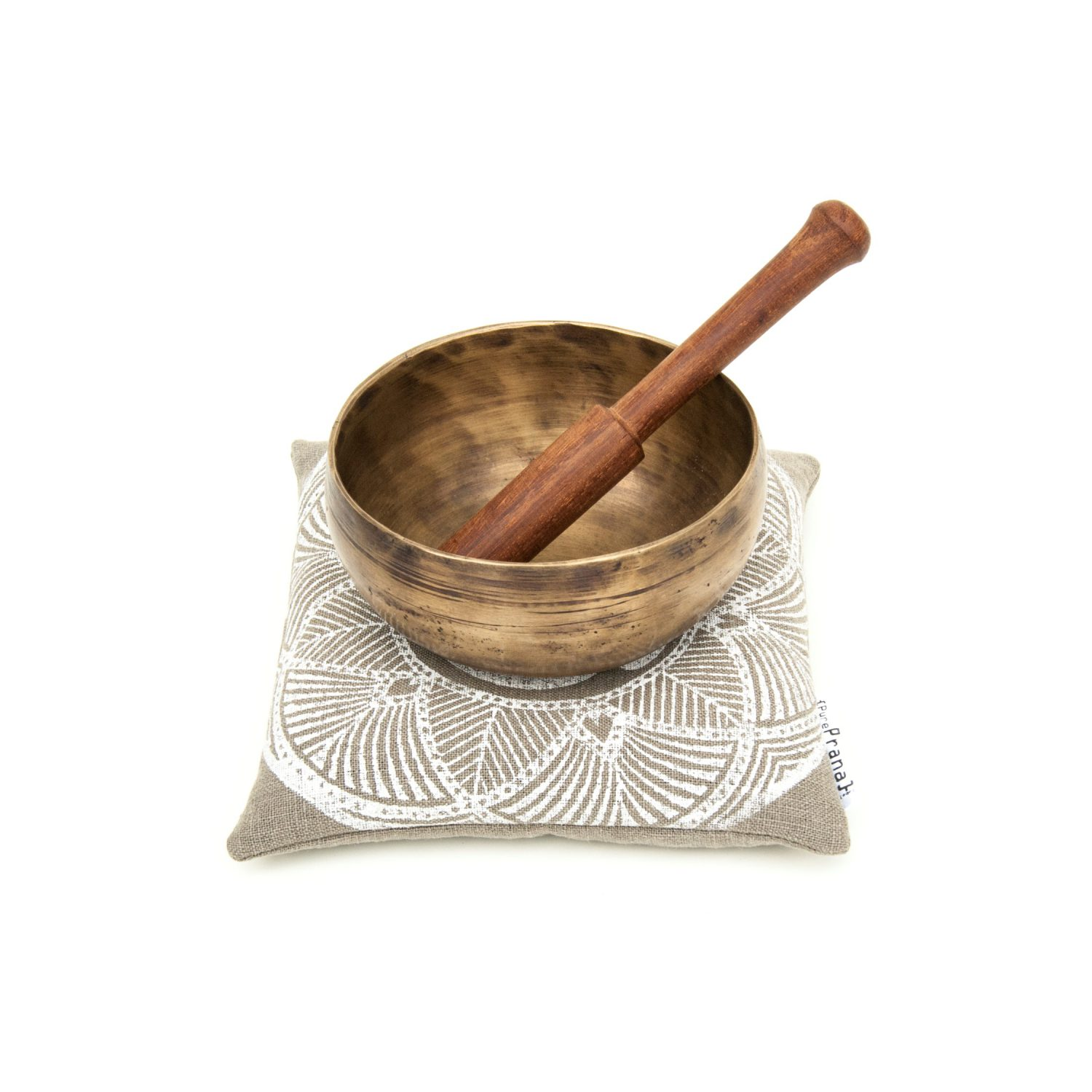 Olive green, GOTS certified linen singing bowl cushion by Pure Prana Label