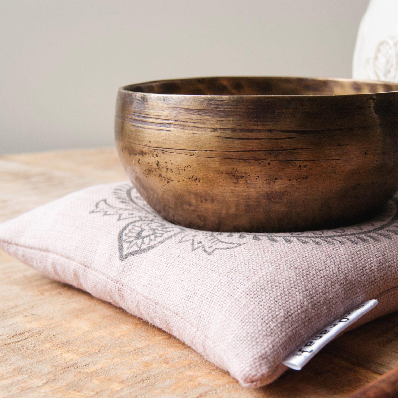 100% linen singing bowl cushion
