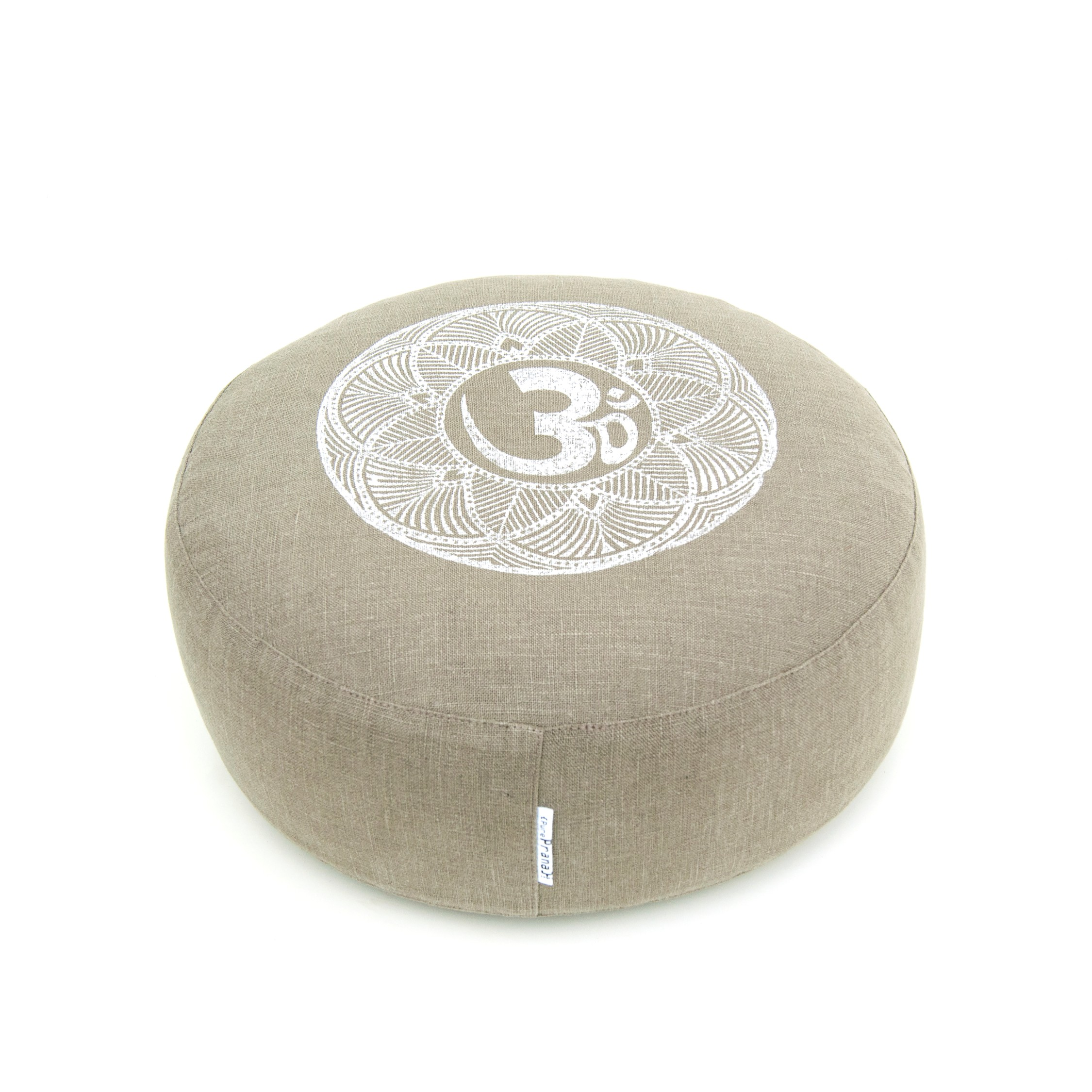 Organic meditation cushion OHM olive green/grey by Pure Prana Label