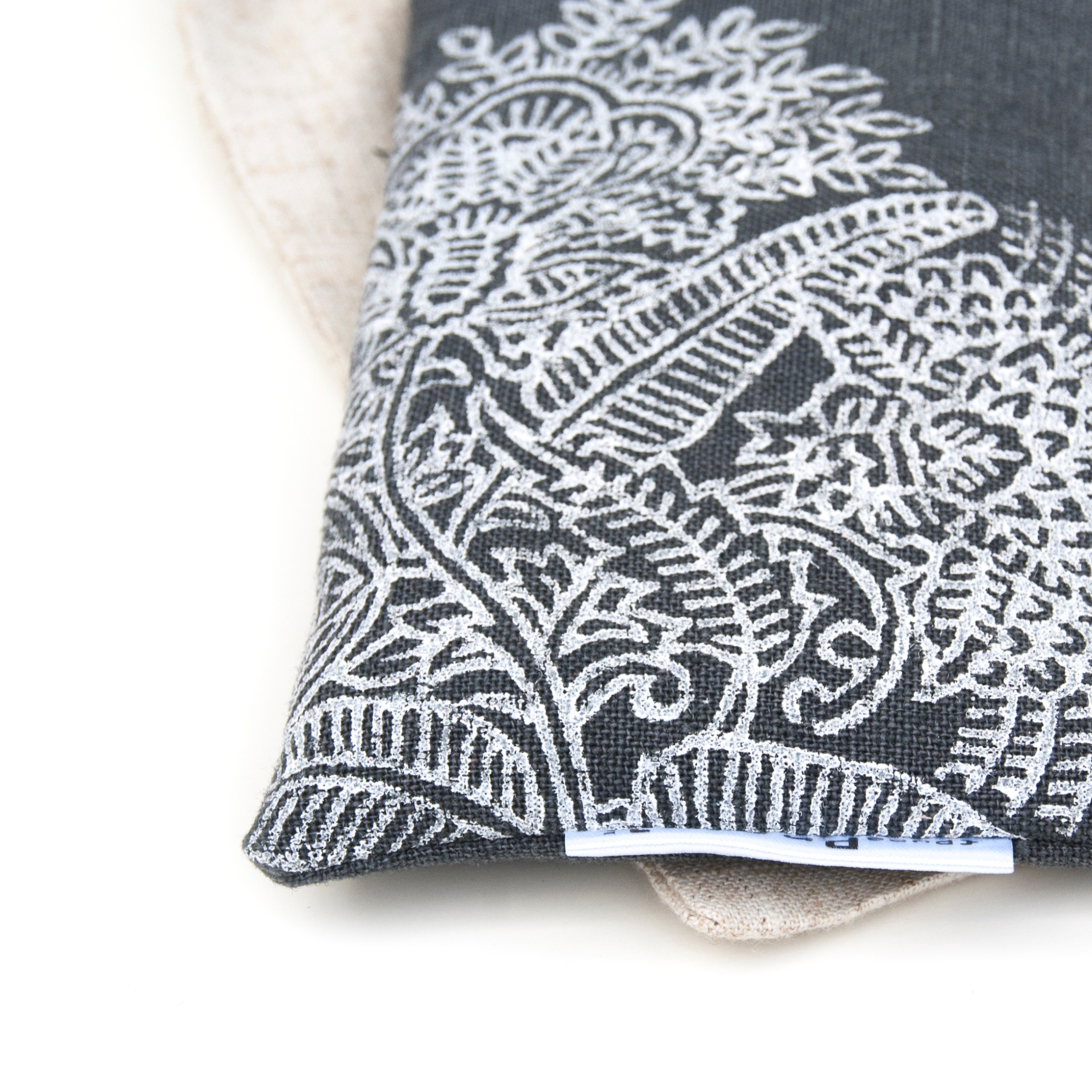 Close up Dark Grey lavender eye pillow by Pure Prana Label