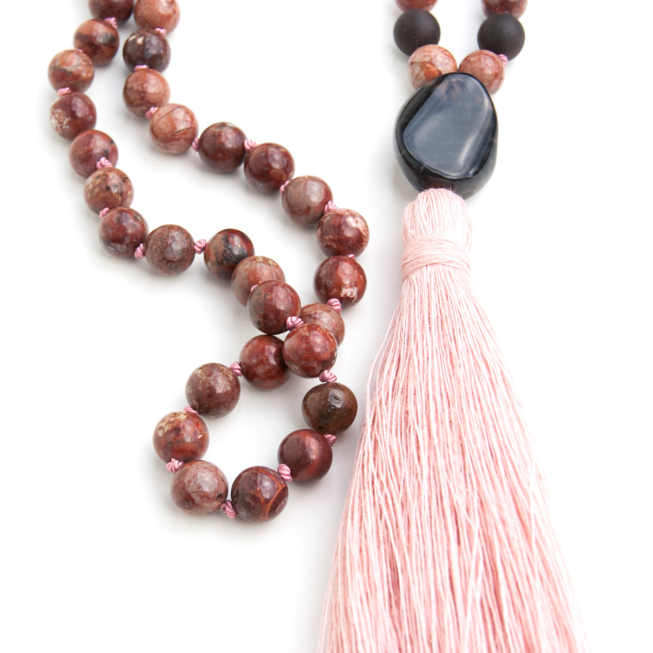 Black Opal Guru bead and pink linen tassel