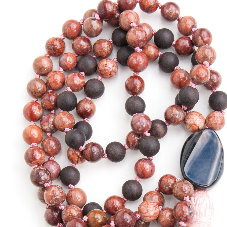 Brown Jasper, sandalwood and black opal