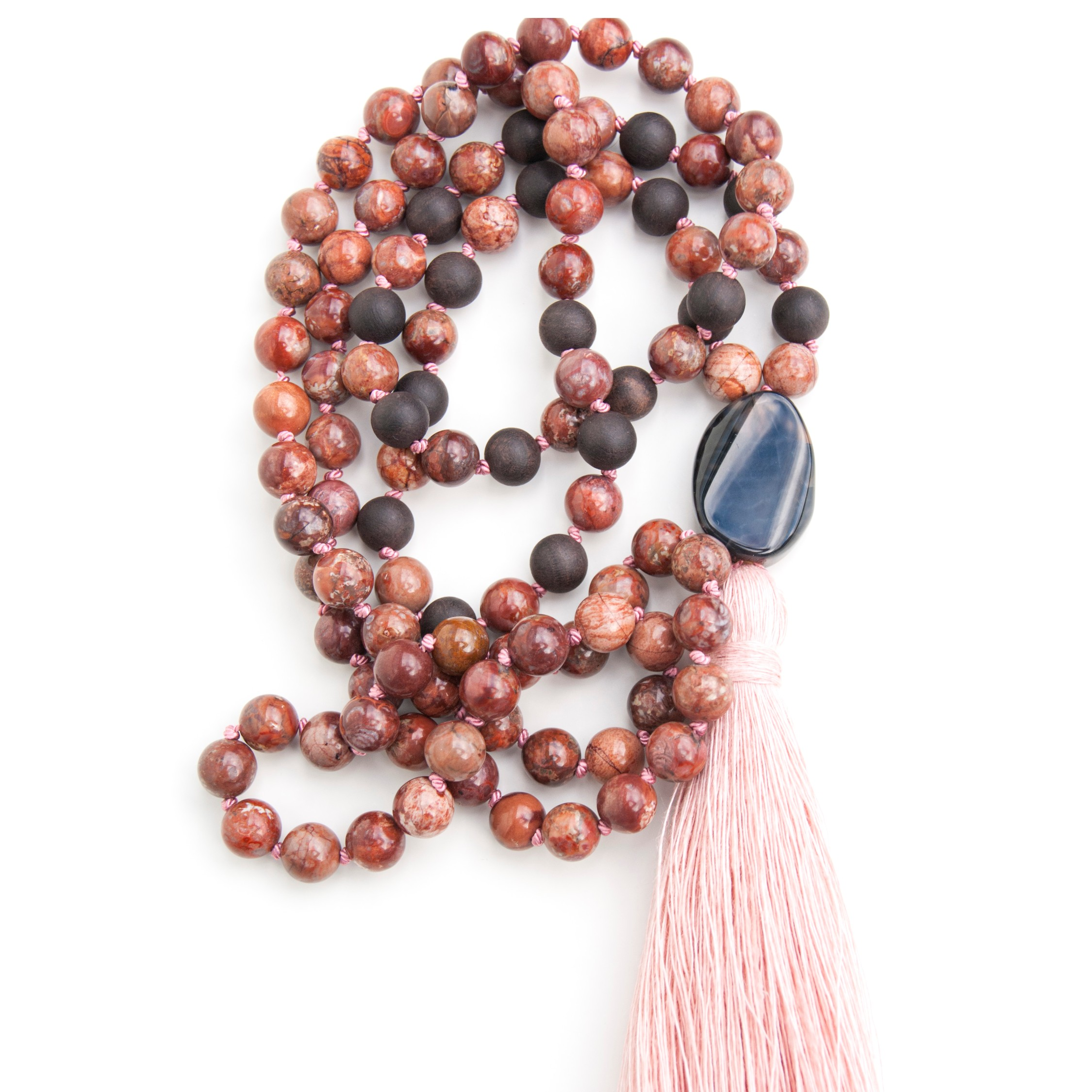 Leaving worries behind with this Brown Jasper mala