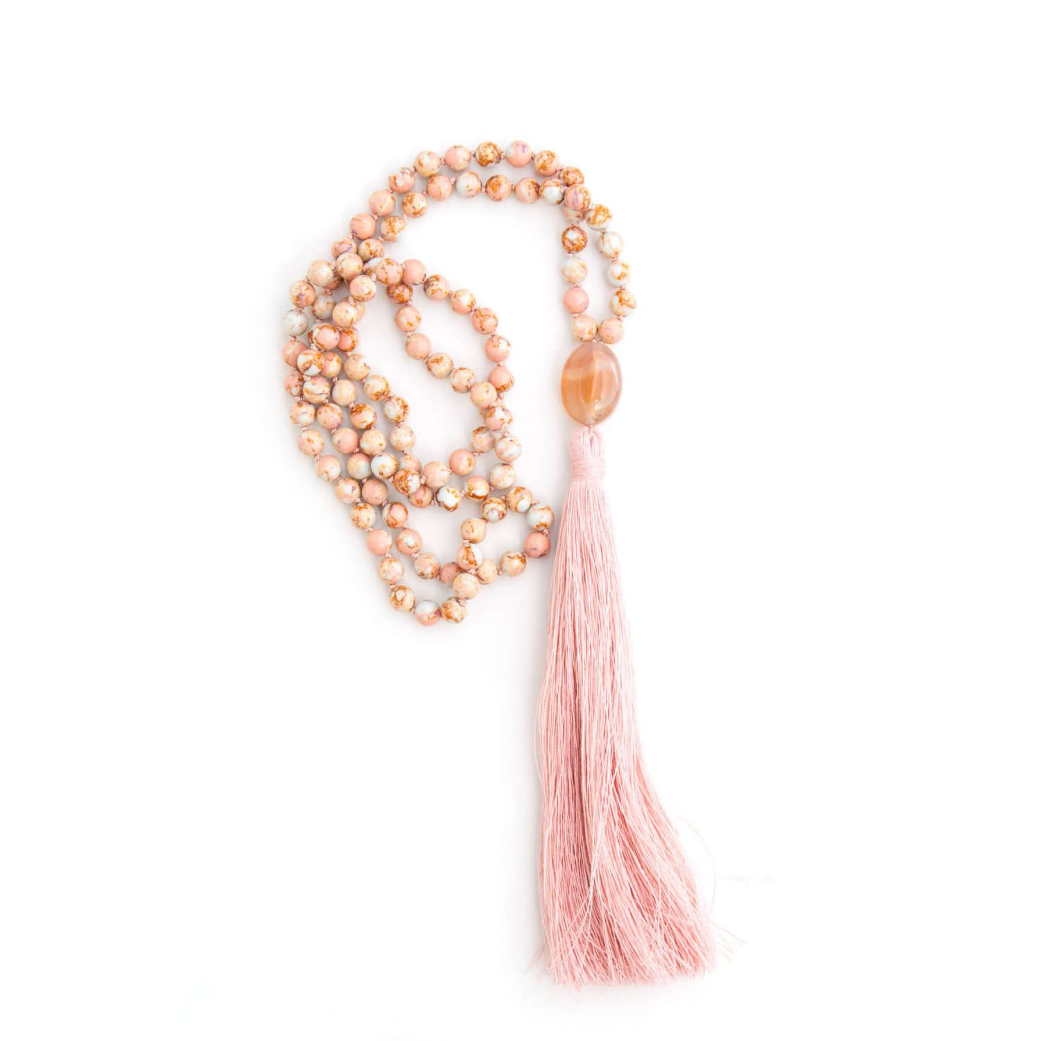 Align yourself with this Imperial Jasper mala by Pure Prana Label