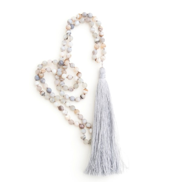 Agate mala for releasing anxiety and grounding by Pure Prana Label