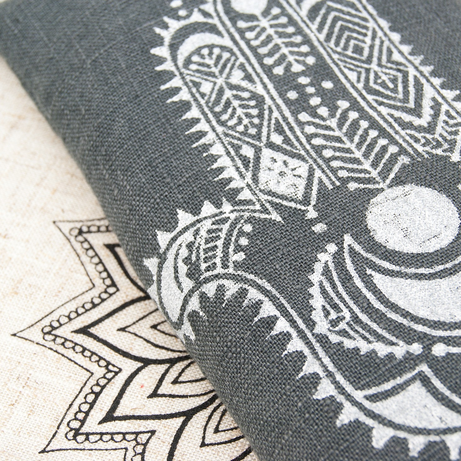 A close up on the Hamsa print, by Pure Prana Label
