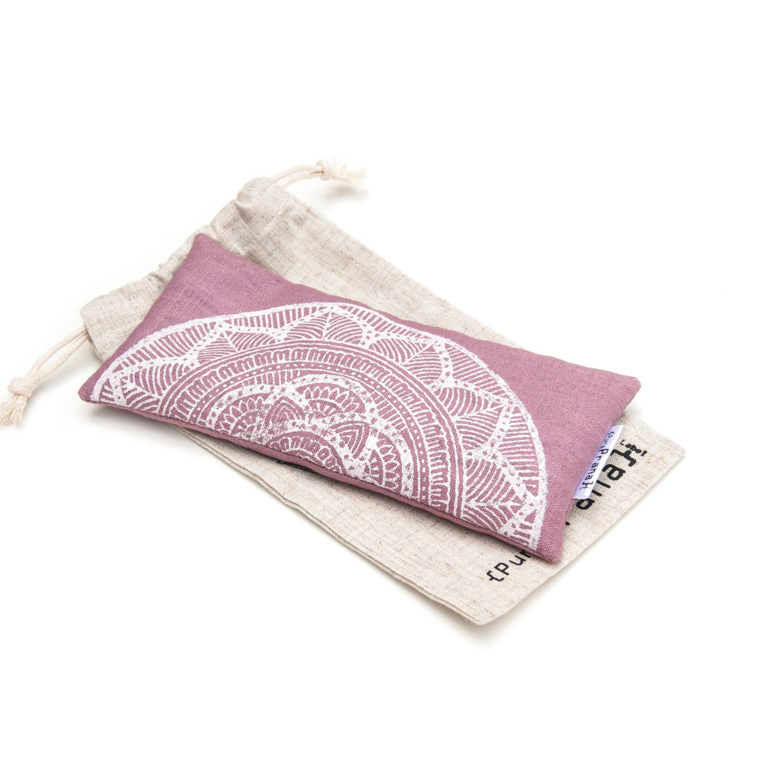 Mauve pink lavender eye pillow with mandala print by Pure Prana Label