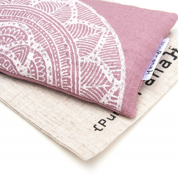 Close up of the handprinted mandala on the Mauve pink lavender eye pillow by Pure Prana Label