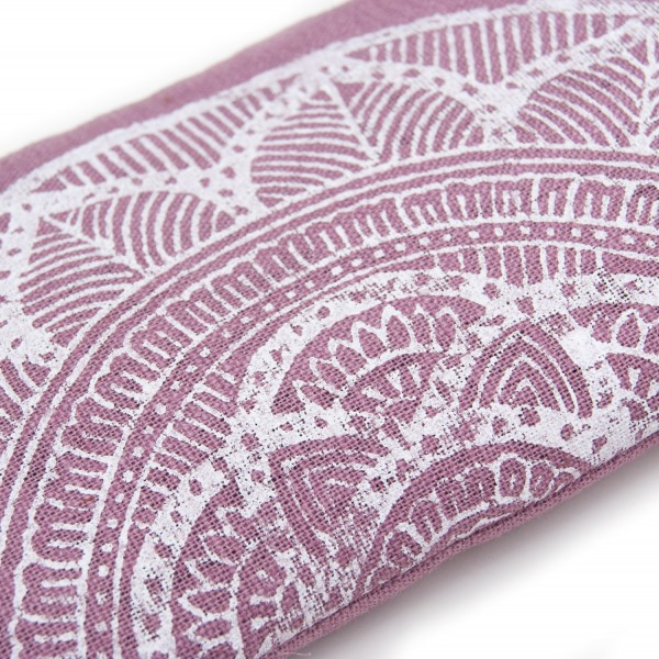 A close up of the mandala on the mauve pink lavender eye pillow by Pure Prana Label