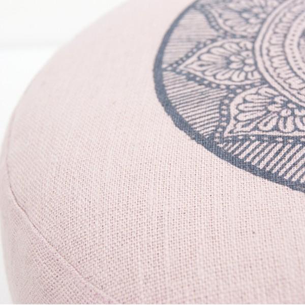 Close up fabric light pink mandala meditation cushions