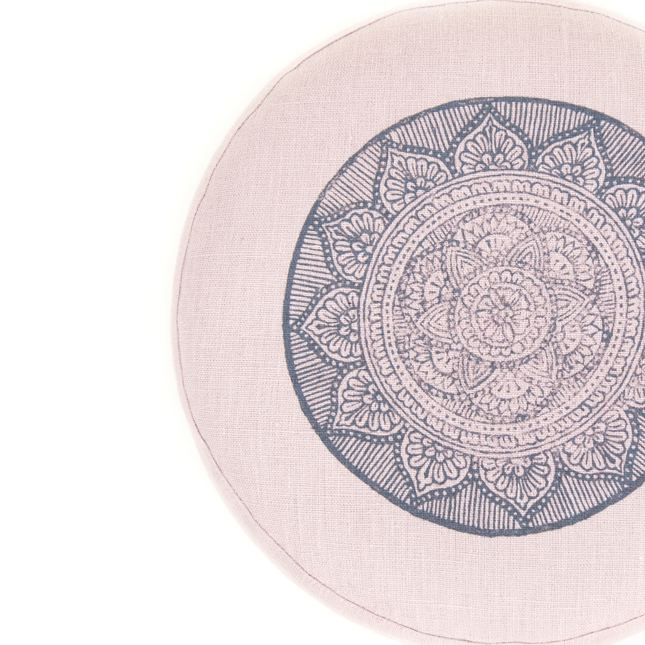 a top view of the light pink mandala meditation cushion by Pure Prana Label