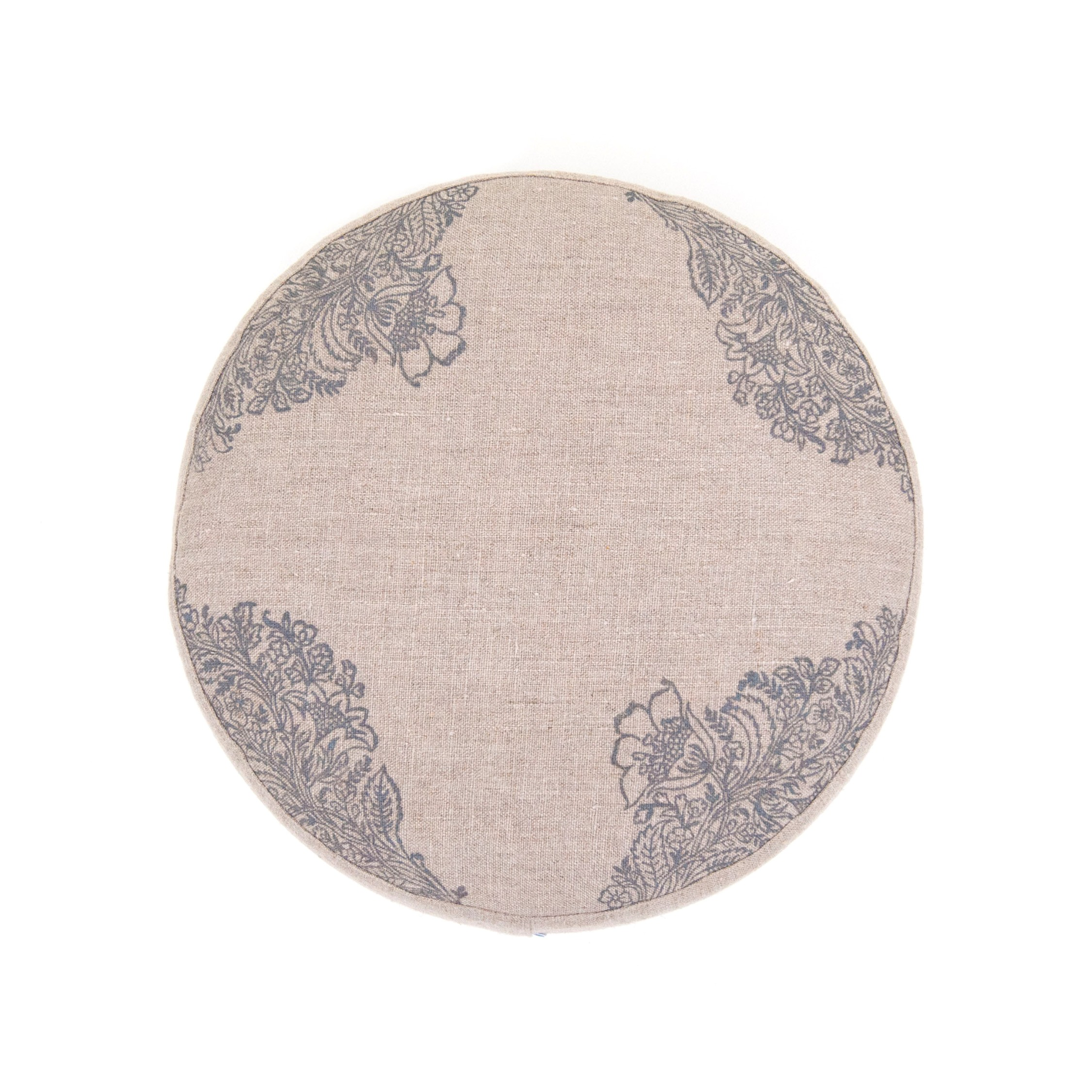 Top view of the natural meditation cushion by Pure Prana Label