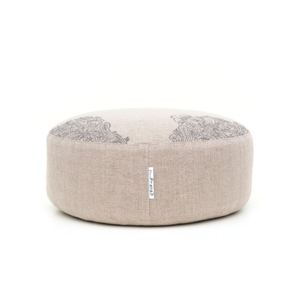 Front view of the natural meditation cushion by Pure Prana Label