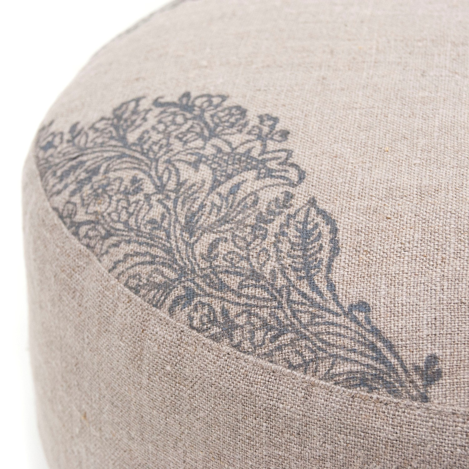A close up for the print on the natural meditation cushions by Pure Prana Label