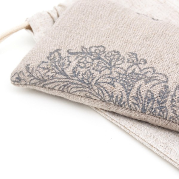 A close up for the Ethnic flowers print on your lavender eye pillow