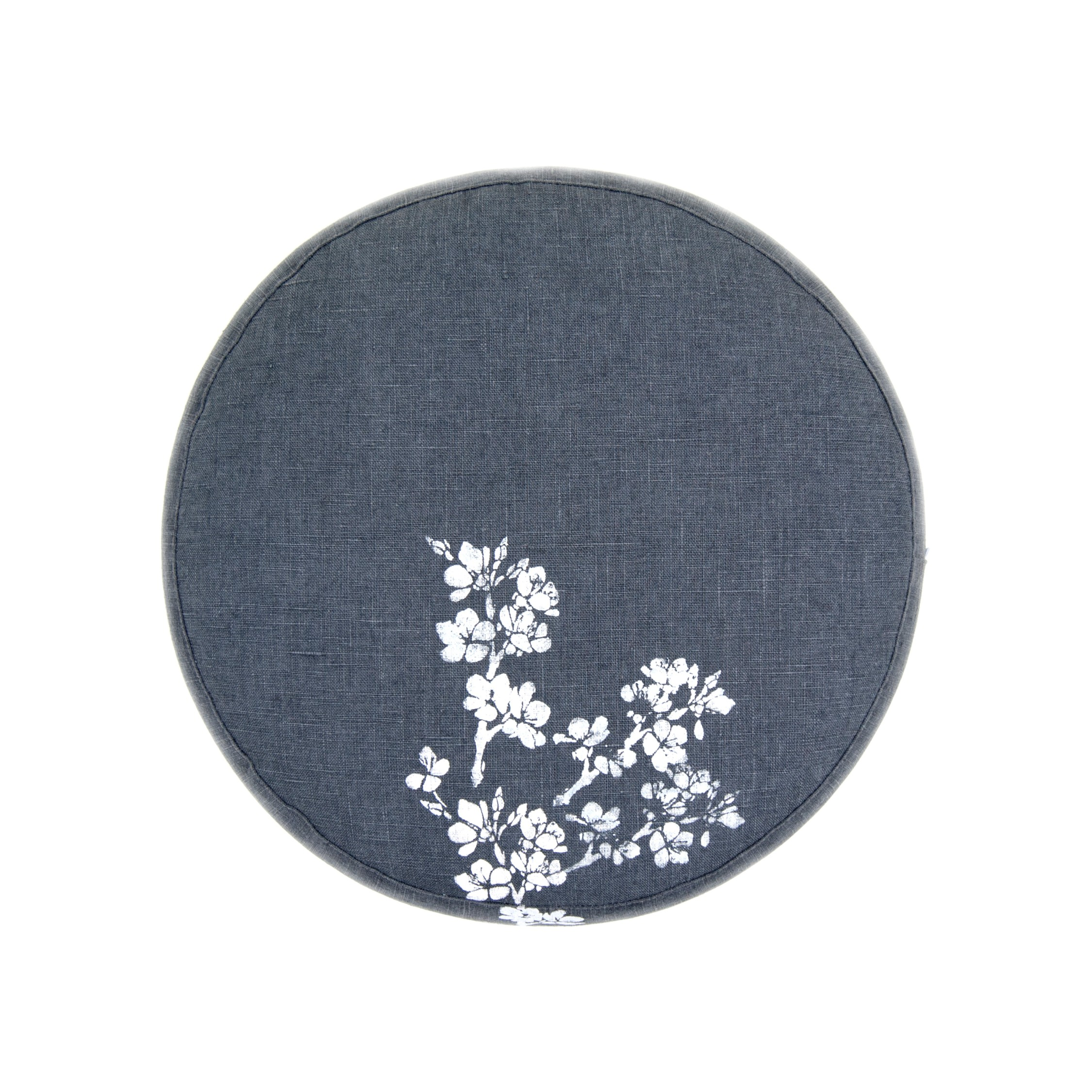 Top of the Cherry Blossom meditation cushion by Pure Prana Label