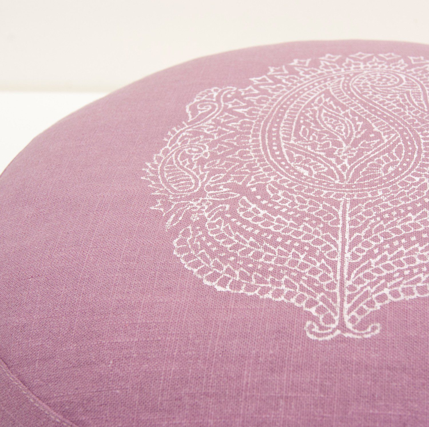 Close up print meditation cushion Paisley
