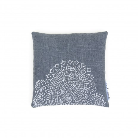 singing bowl cushion dark grey Paisley