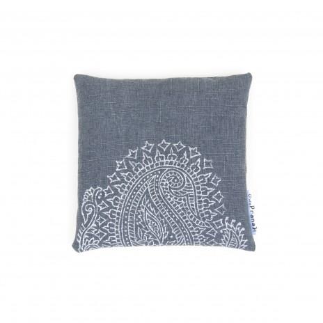 singing bowl cushion dark grey Paisley