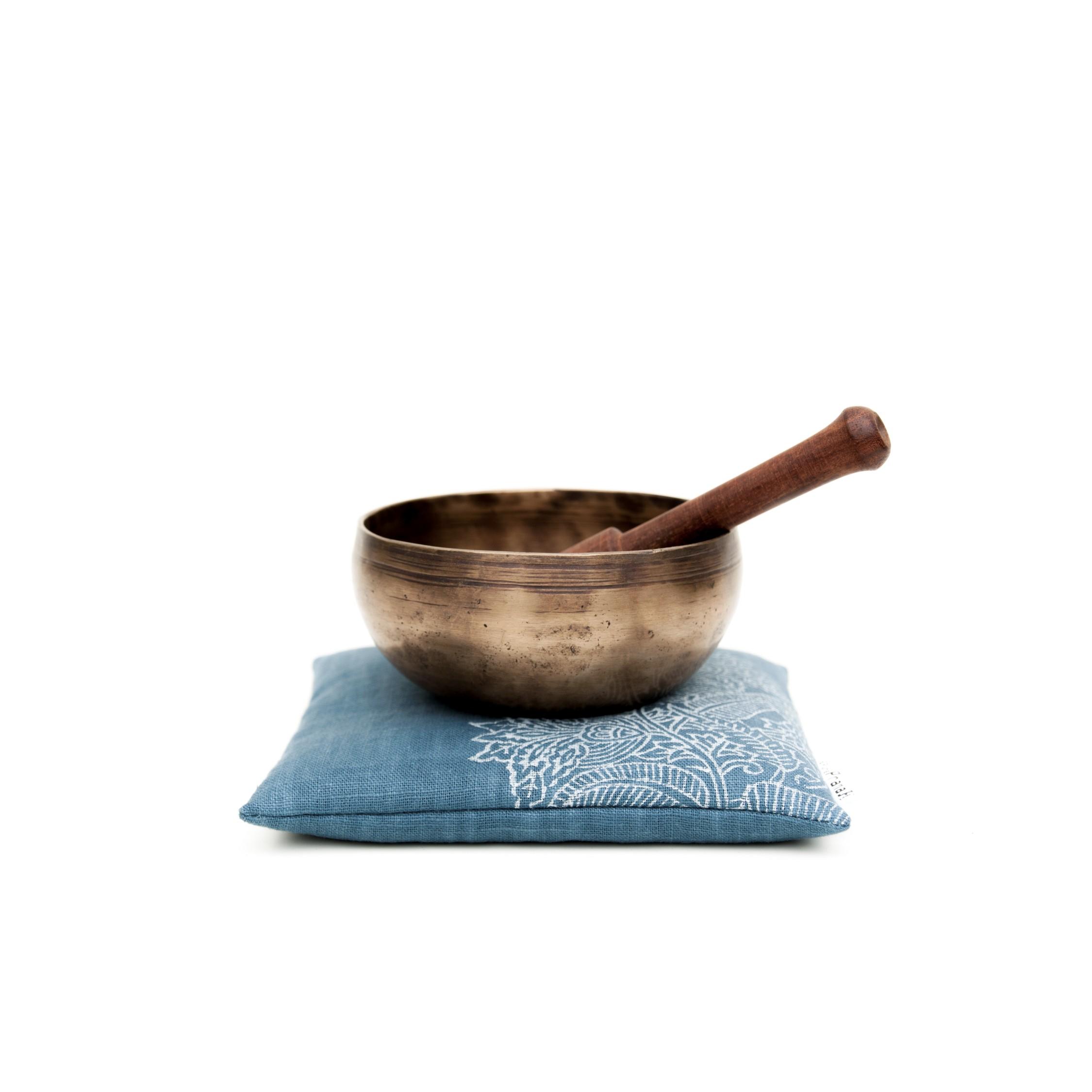 Singing bowl cushion Royal Blue Flower by Pure Prana Label