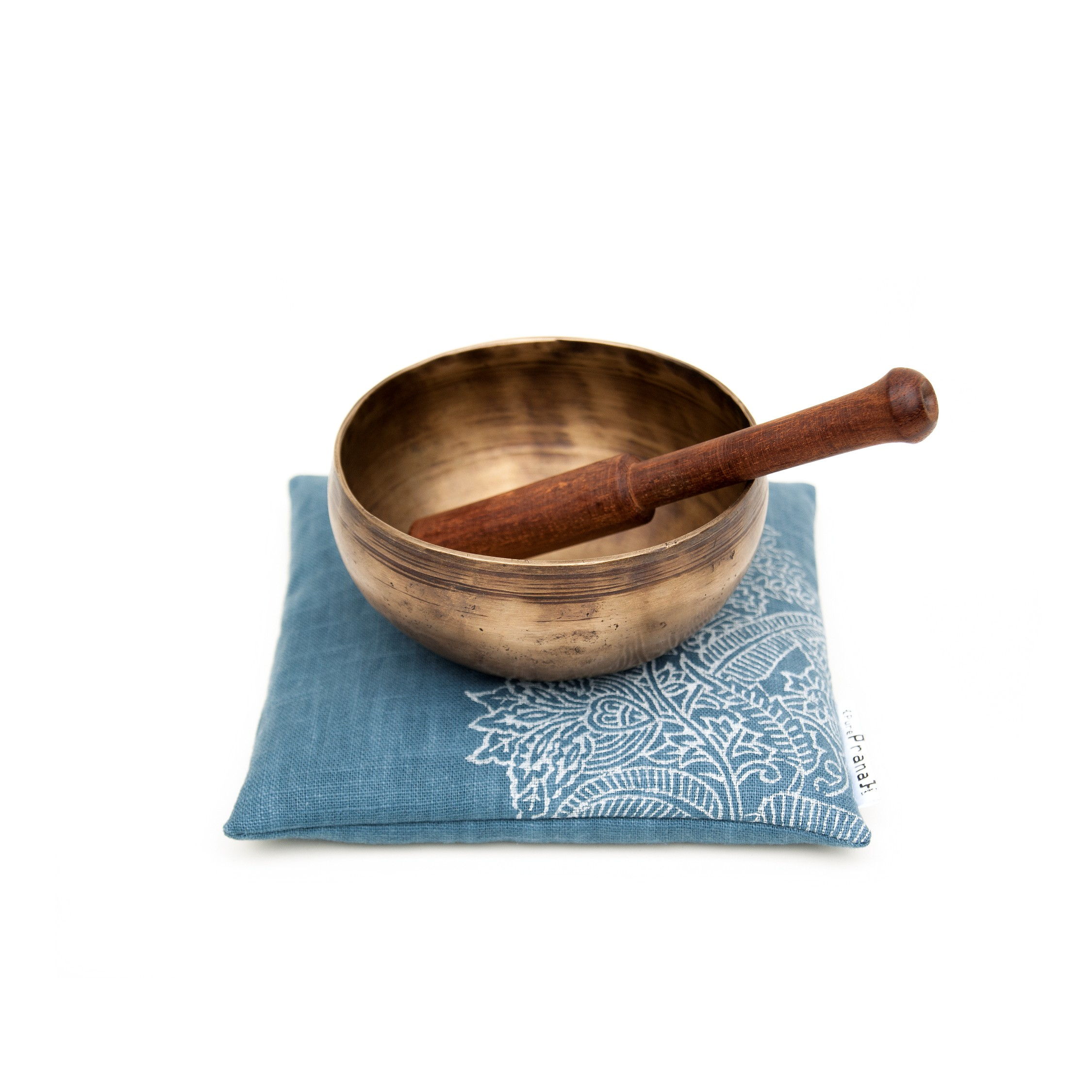 Singing bowl cushion Royal Blue Flower