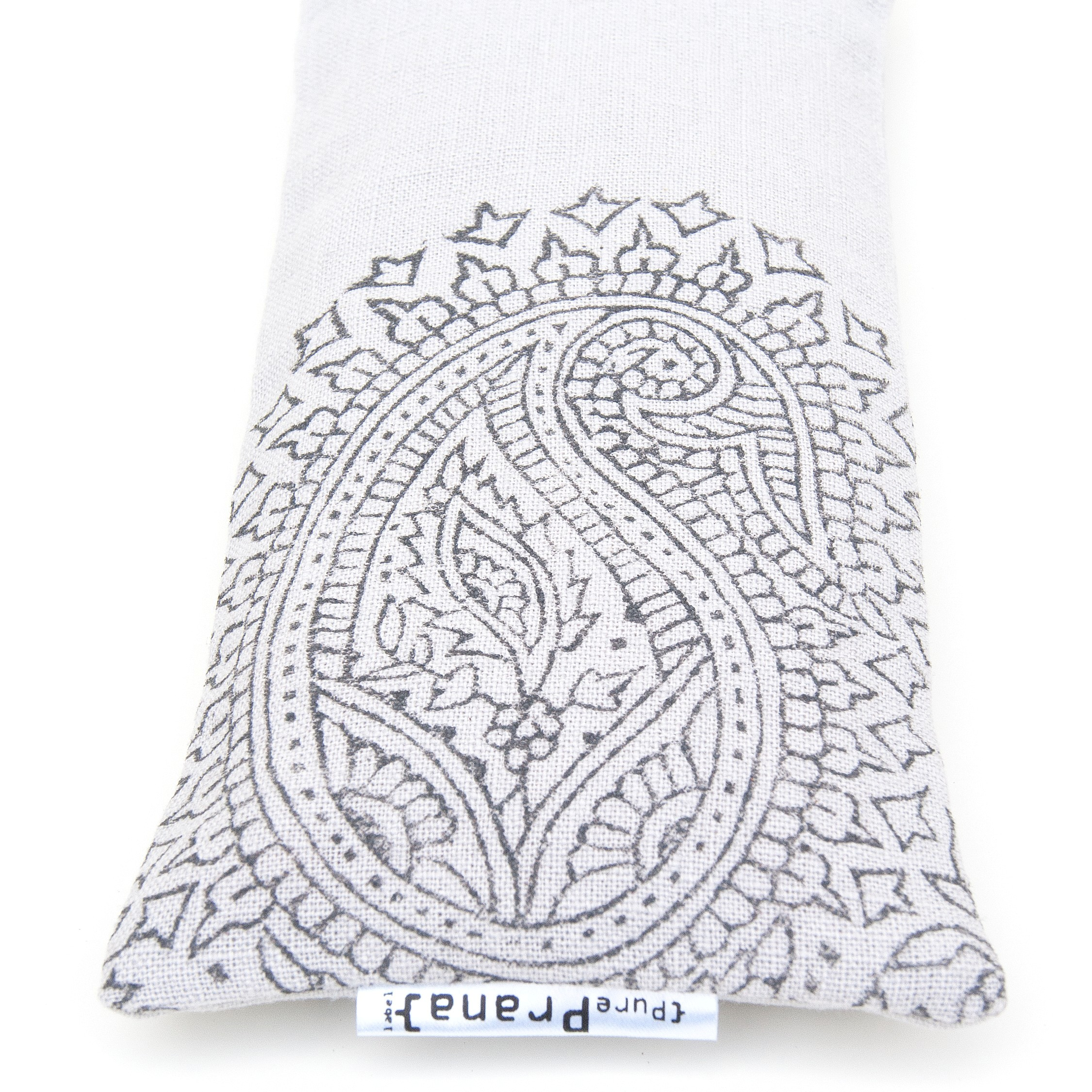 Light Grey Paisley, crystal eye pillow by Pure Prana Label