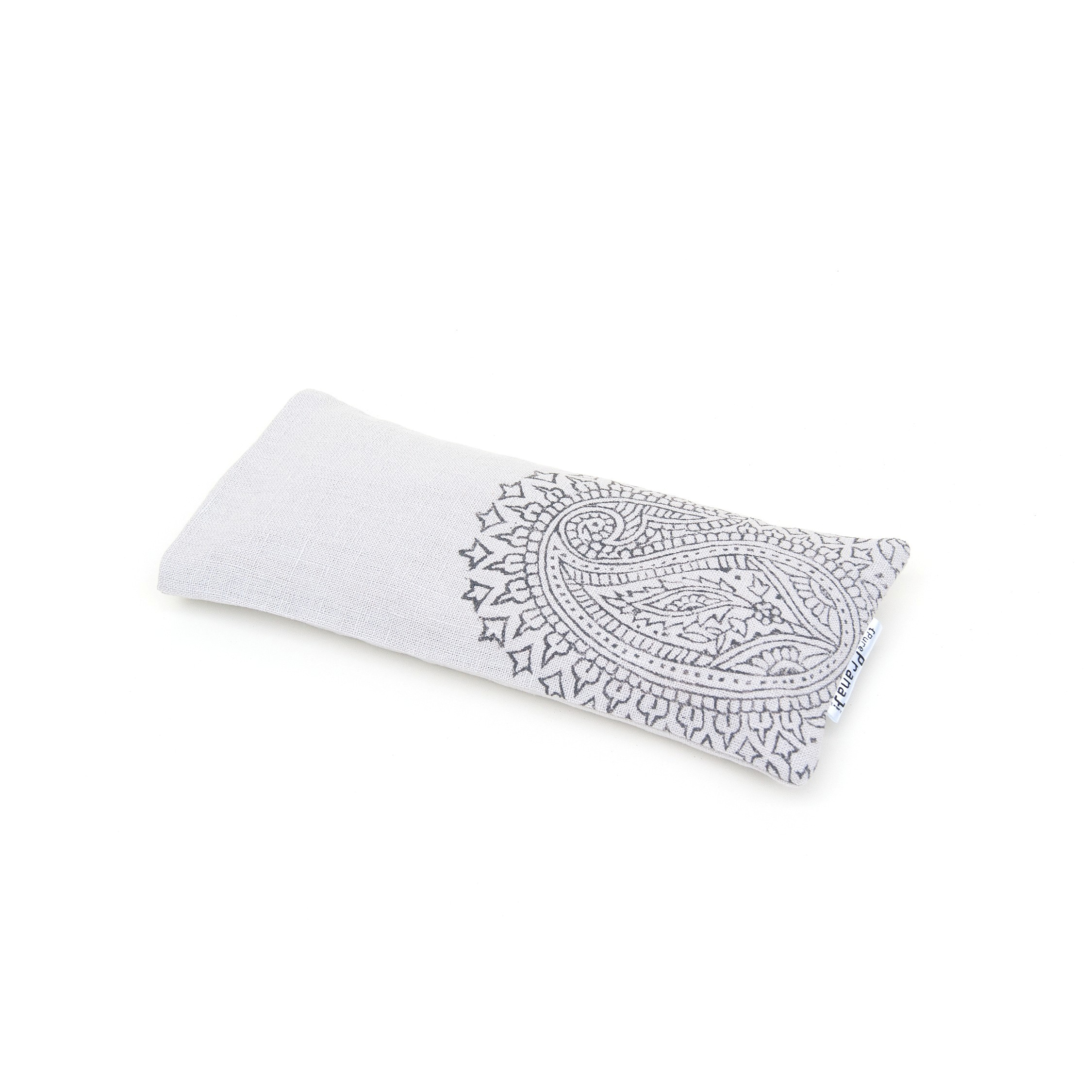 Crystal eye pillow, light grey Paisley by Pure Prana Label, 100% flax linen meditation products.