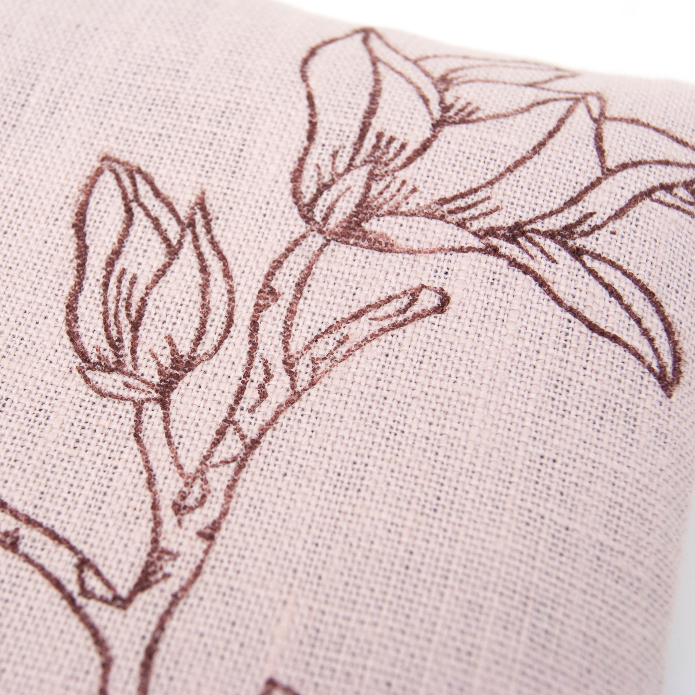 Print up close of the Magnolia singing bowl cushion by Pure Prana Label