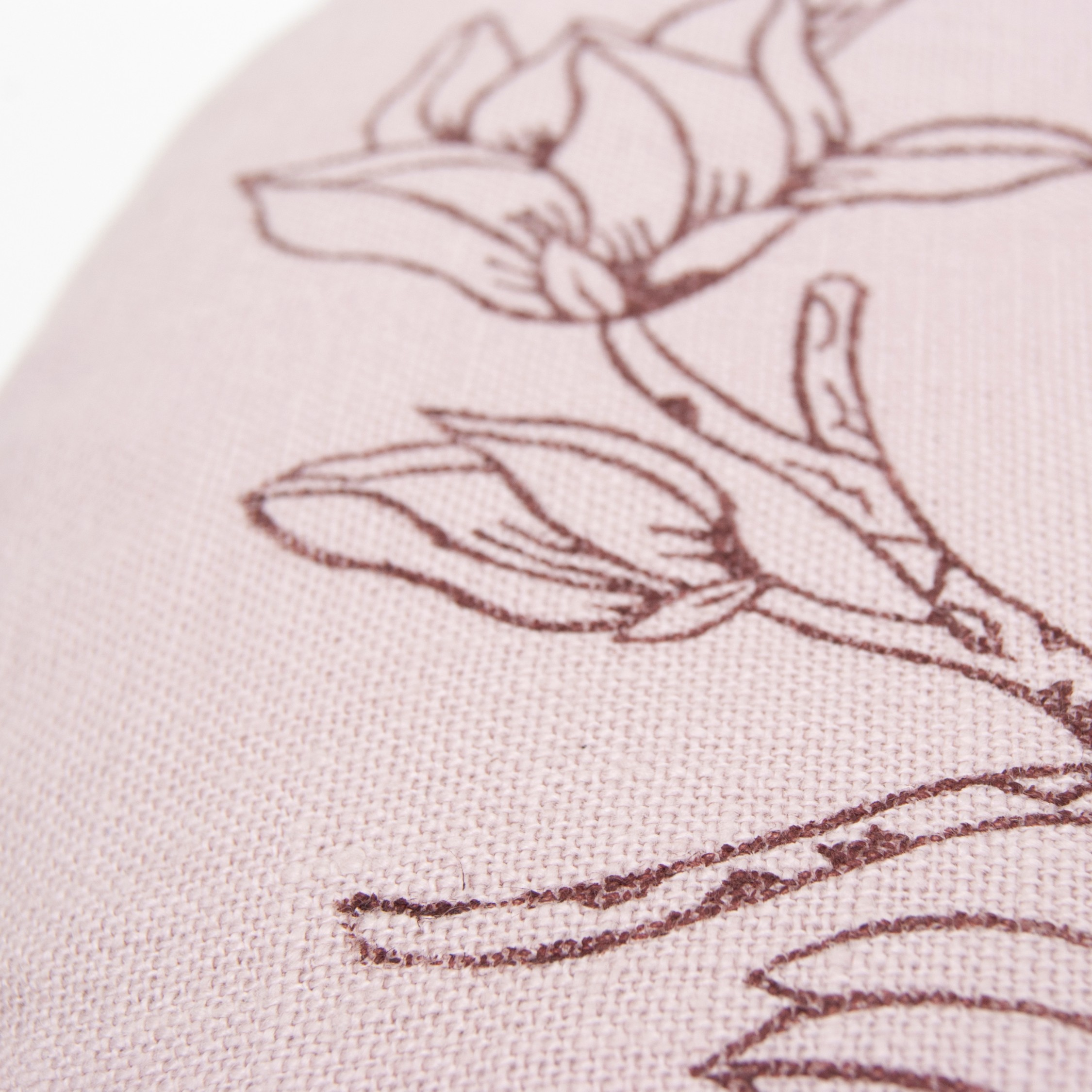 Print of the Magnolia meditation cushion, made with a handcarved wooden stamp