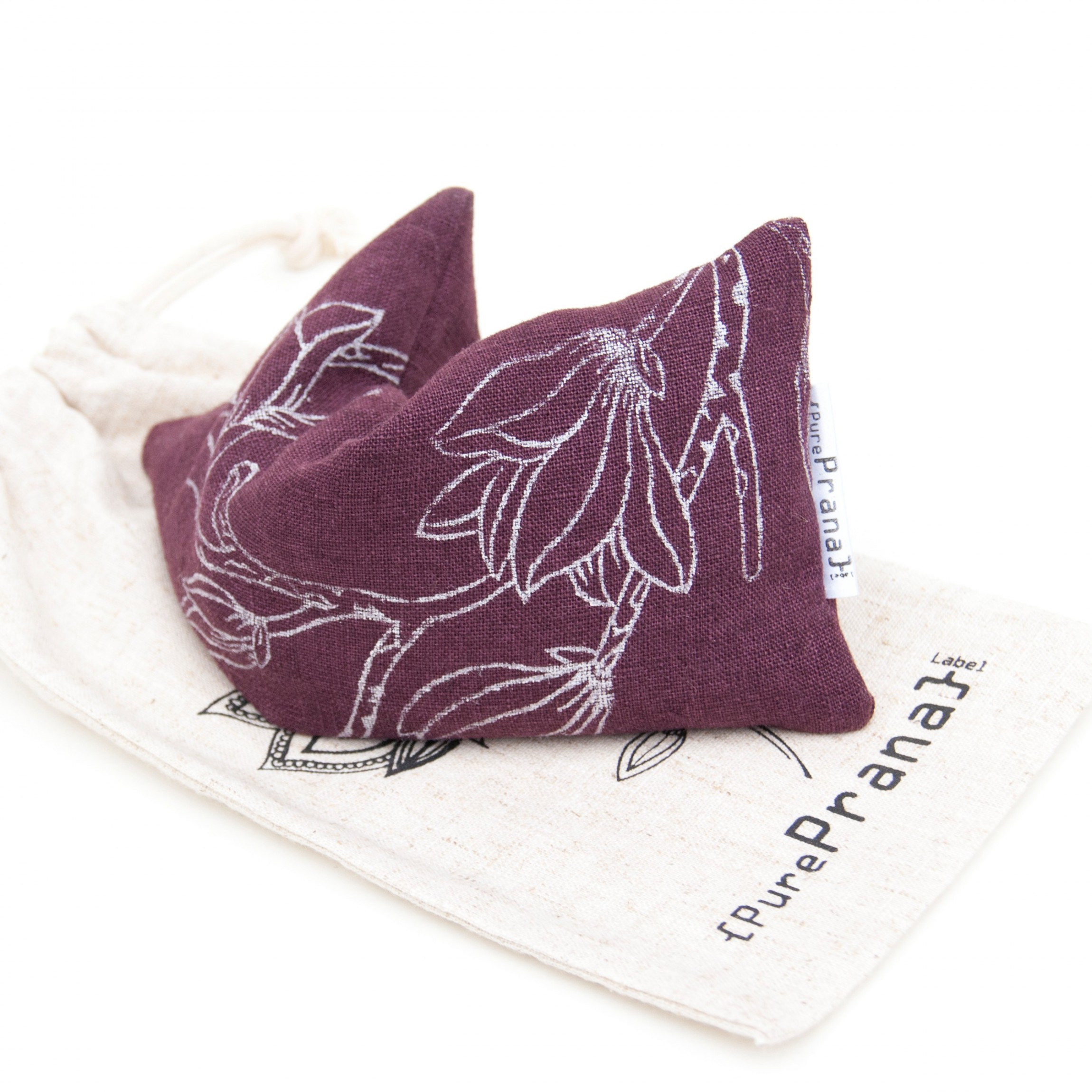 Yoga eye pillow magnolia in eggplant