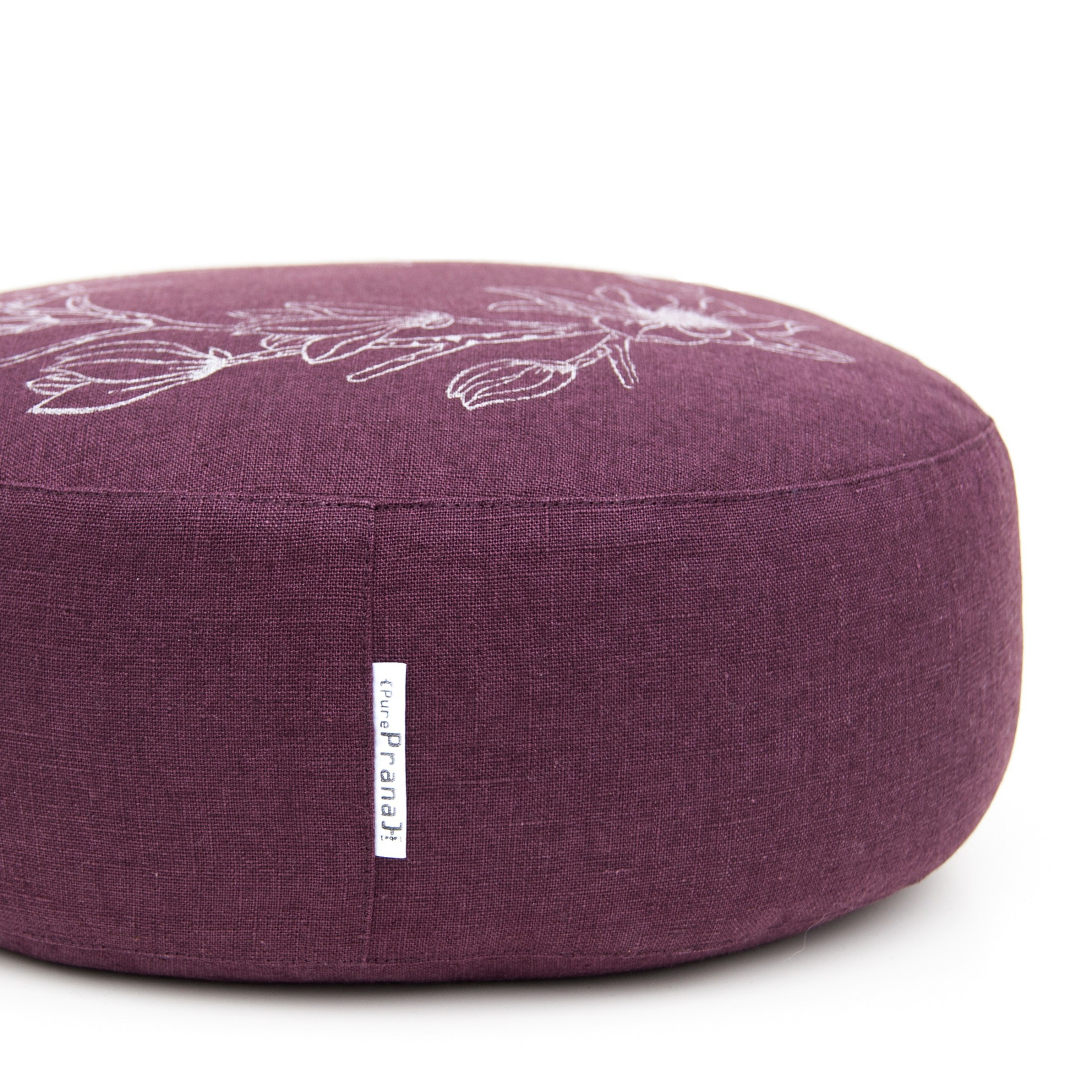 Eggplant meditation cushion by Pure Prana Label