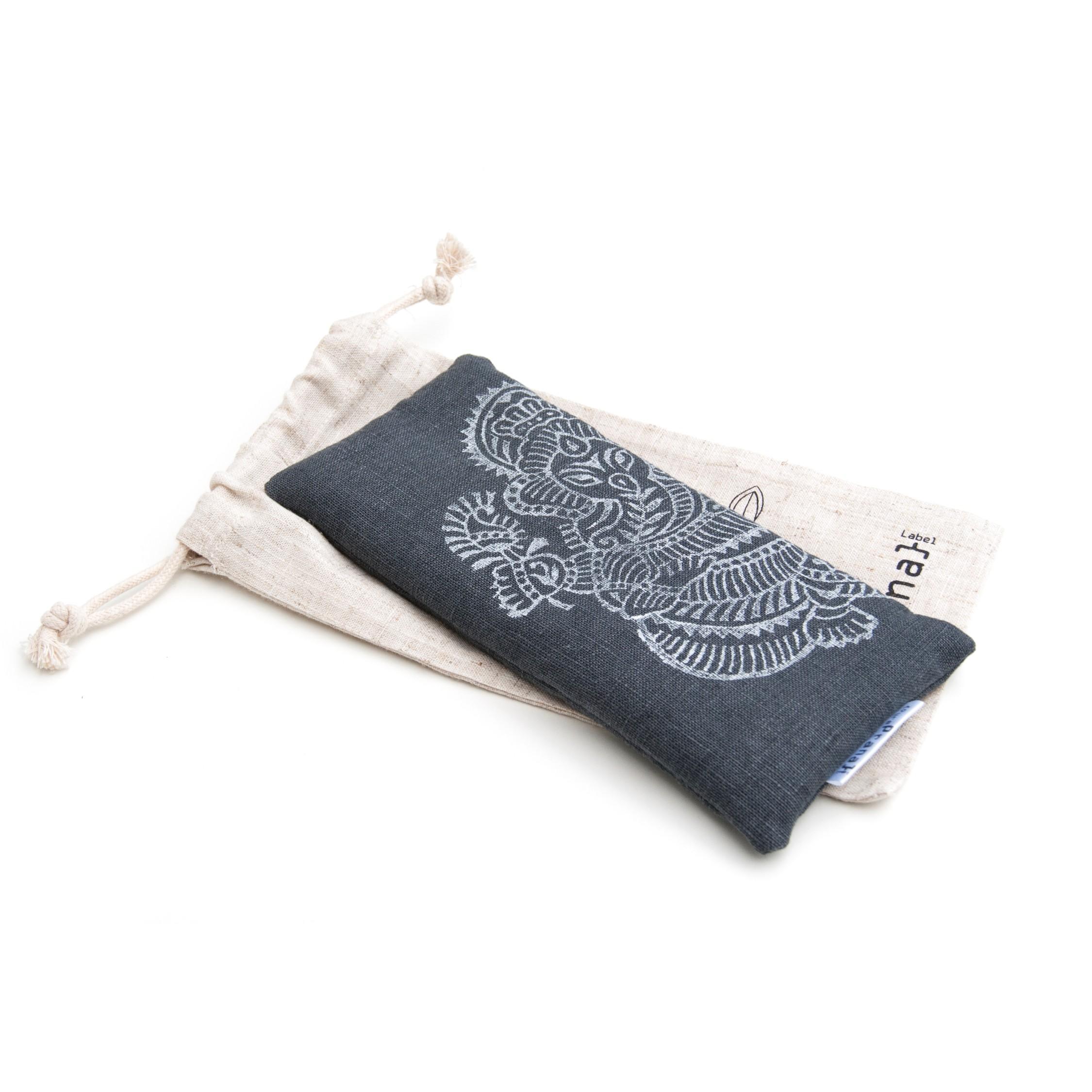 Yoga eye pillow Ganesh in dark gray