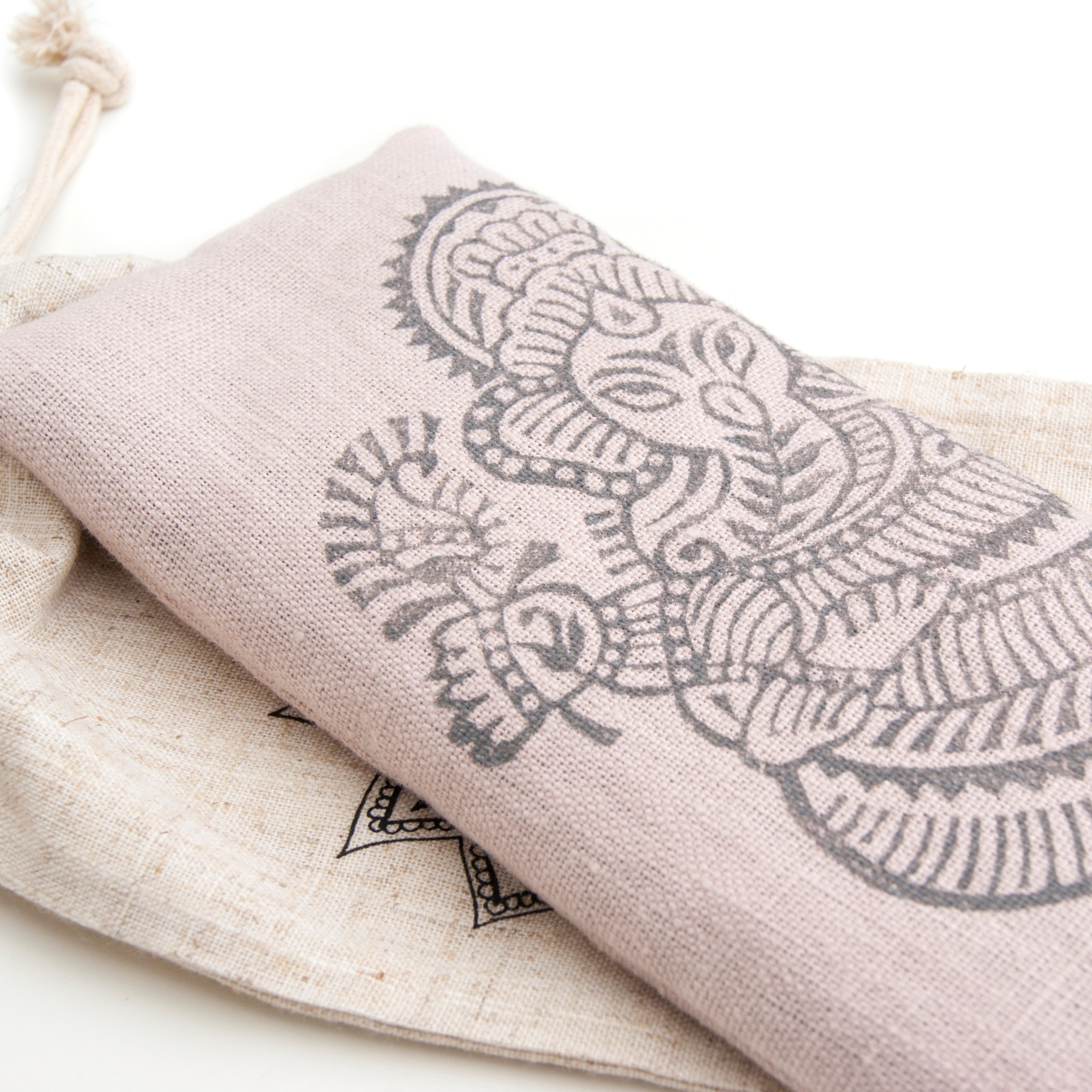 Ganesh eye pillow in pink,100% flax linen