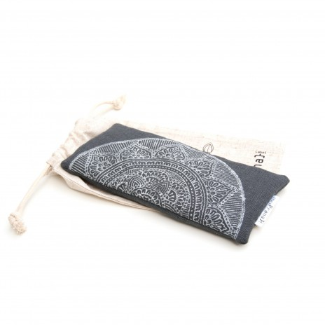 Yoga eye pillow mandala in dark gray by Pure Prana Label, 100% flax linen meditation products