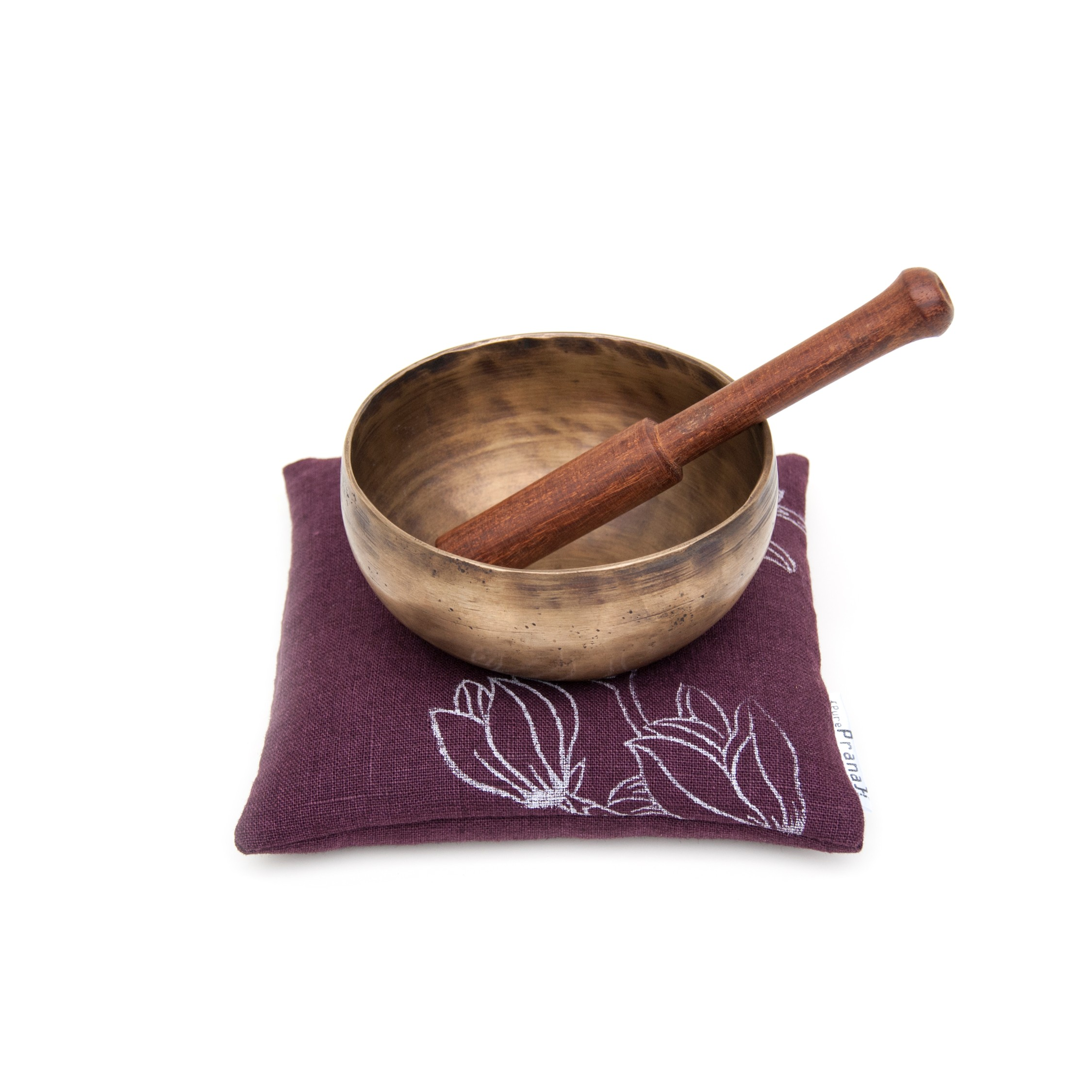 Singing bowl cushion Magnolia Eggplant by Pure Prana Label