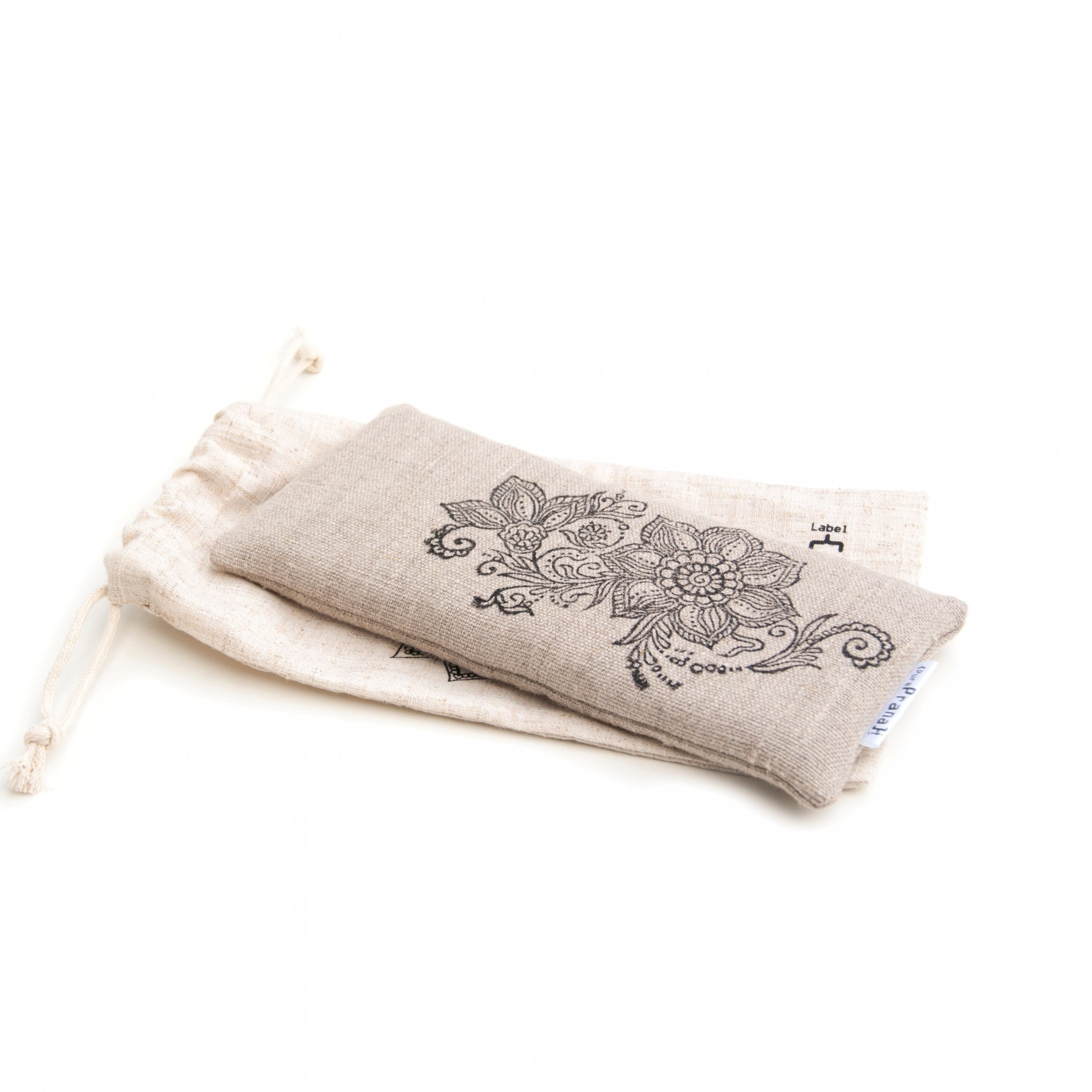 Yoga eye pillow natural non toxic flax linen, filled with organic materials.