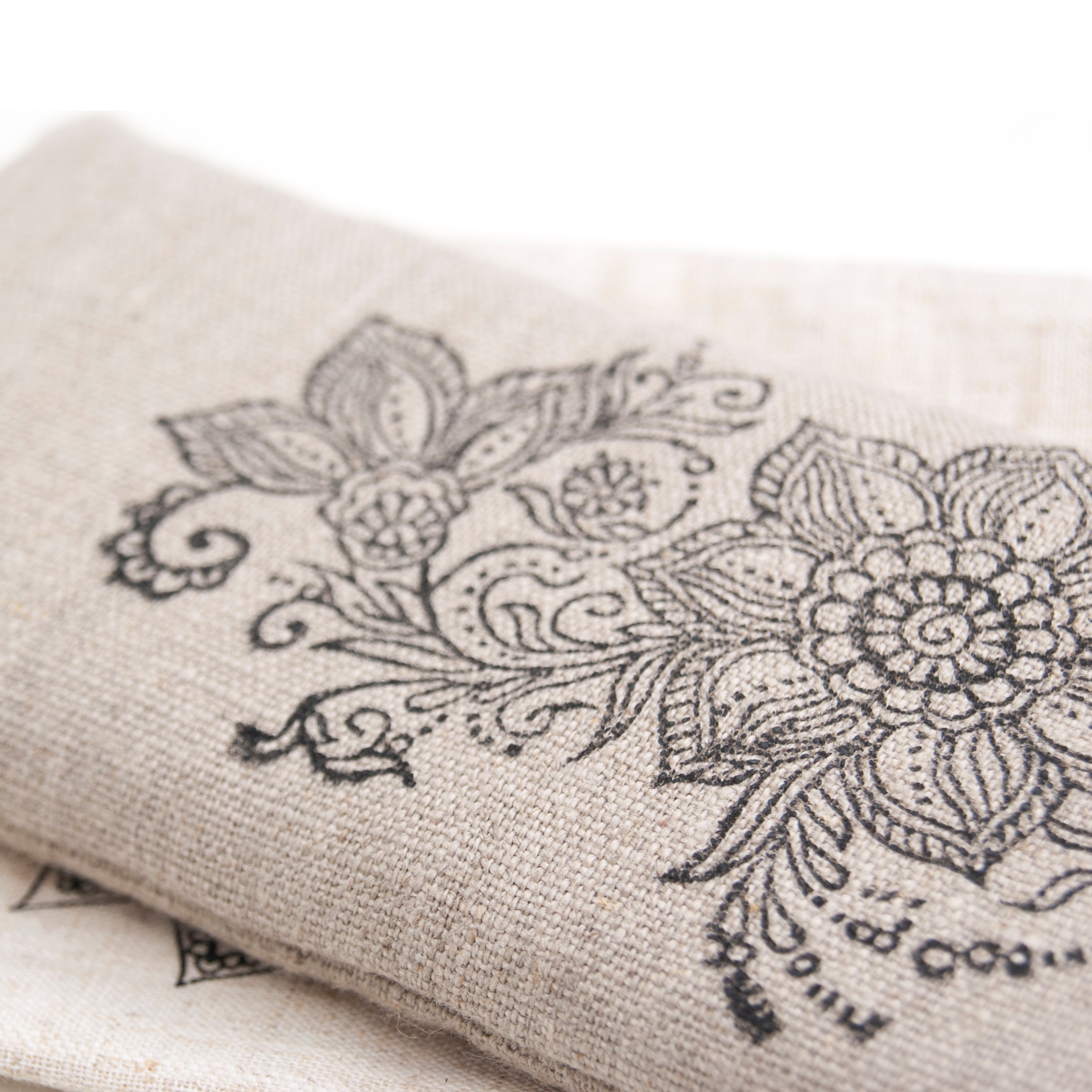 Mehndi print on the flax yoga eye pillow by Pure Prana Label