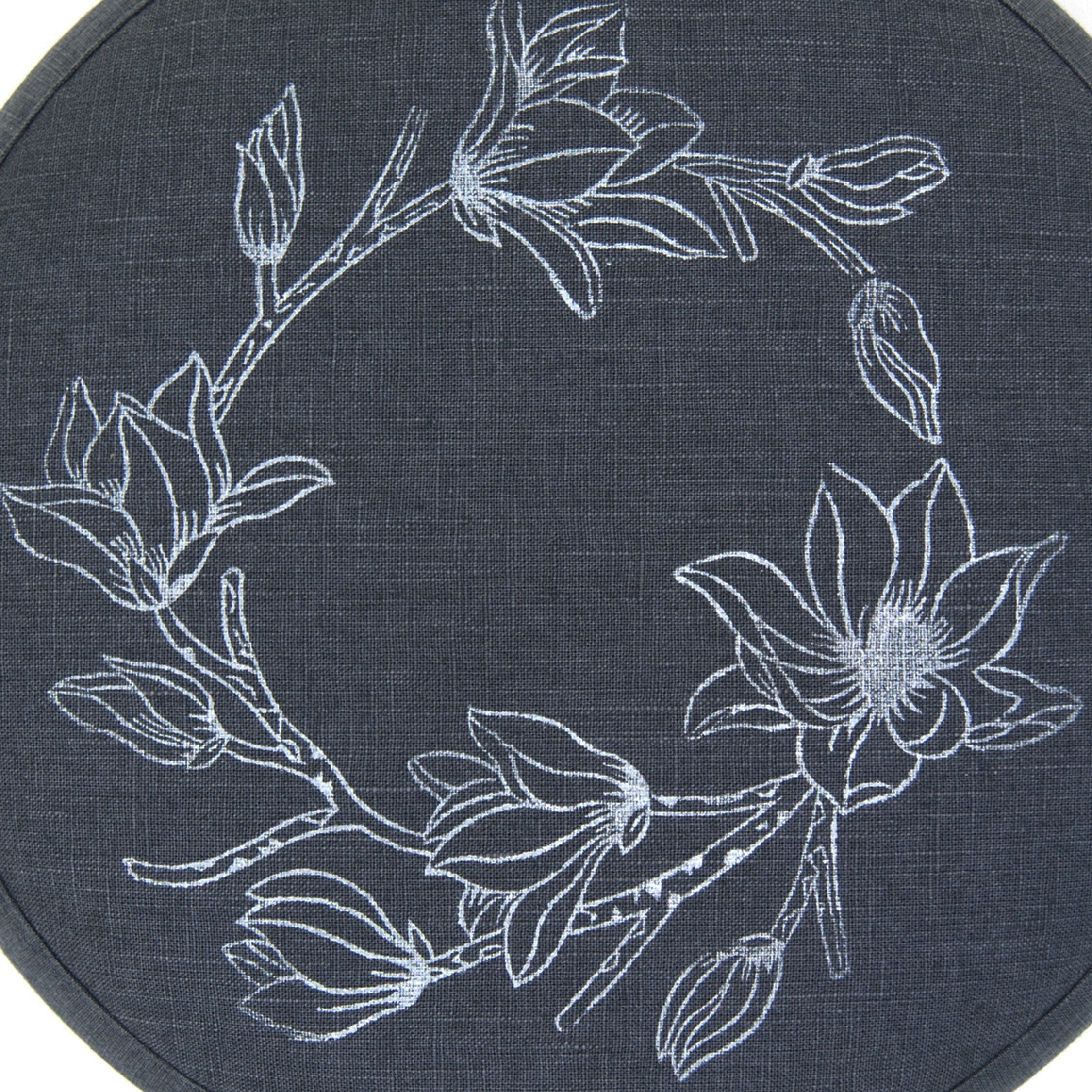 Magnolia print on the flax linen meditation cushion