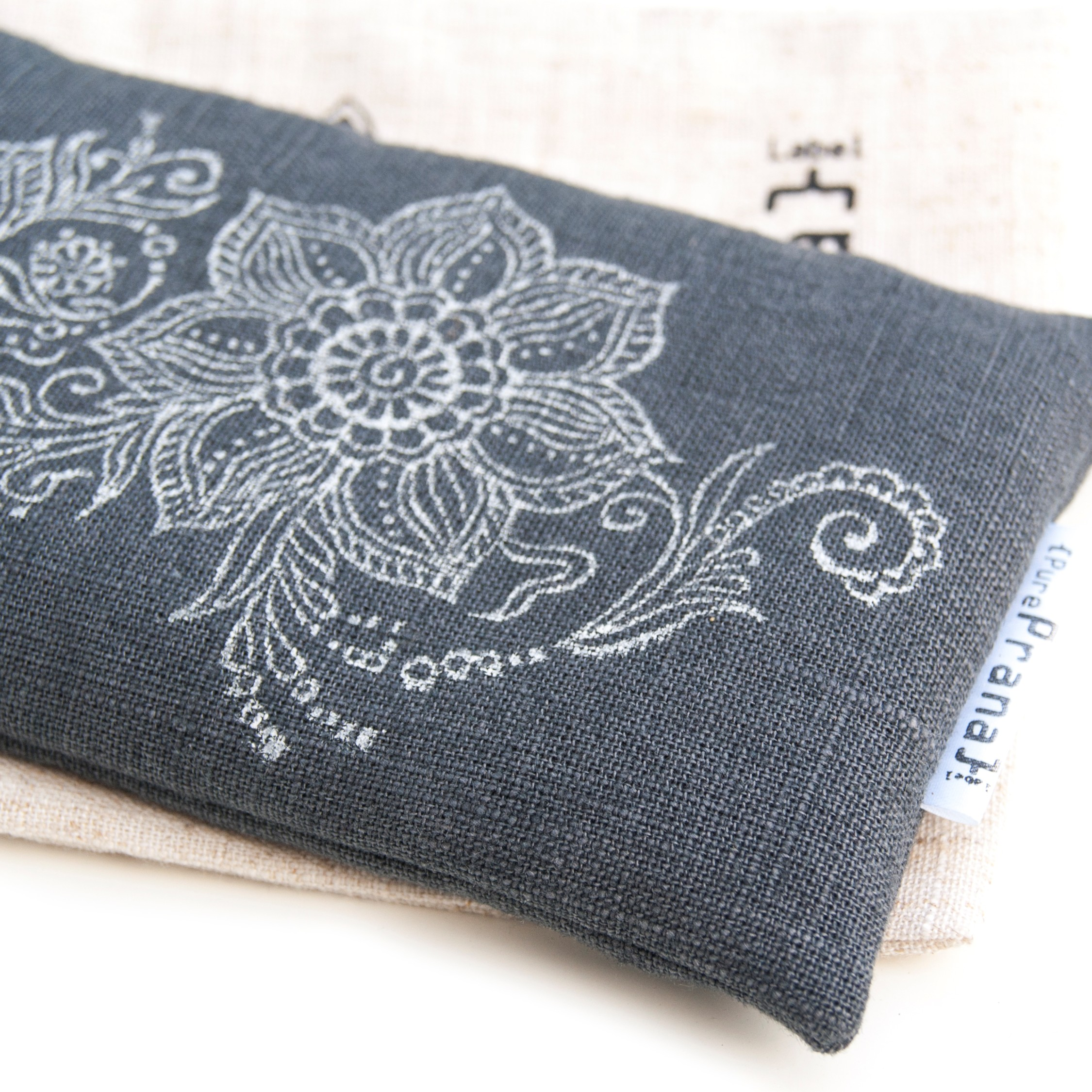 Beautiful authentic print on this yoga eye pillow by Pure Prana Label