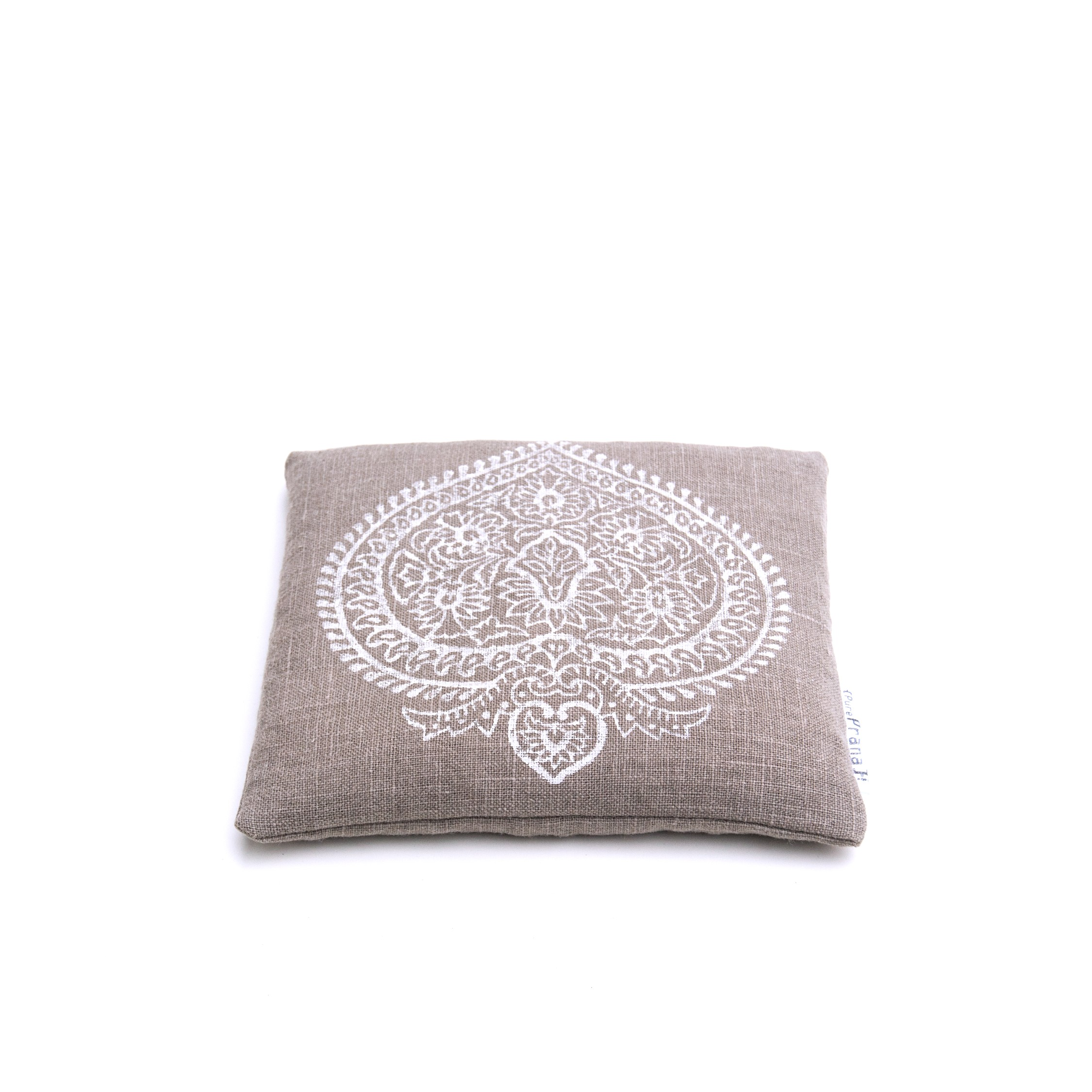 Singing bowl pillow Indian flower, organic flax linen