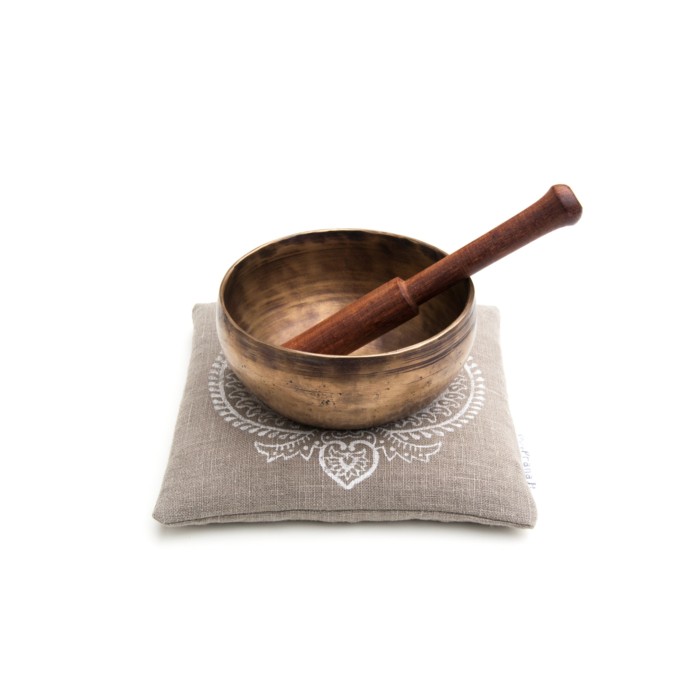 Organic singing bowl cushion Indian Flower by Pure Prana Label