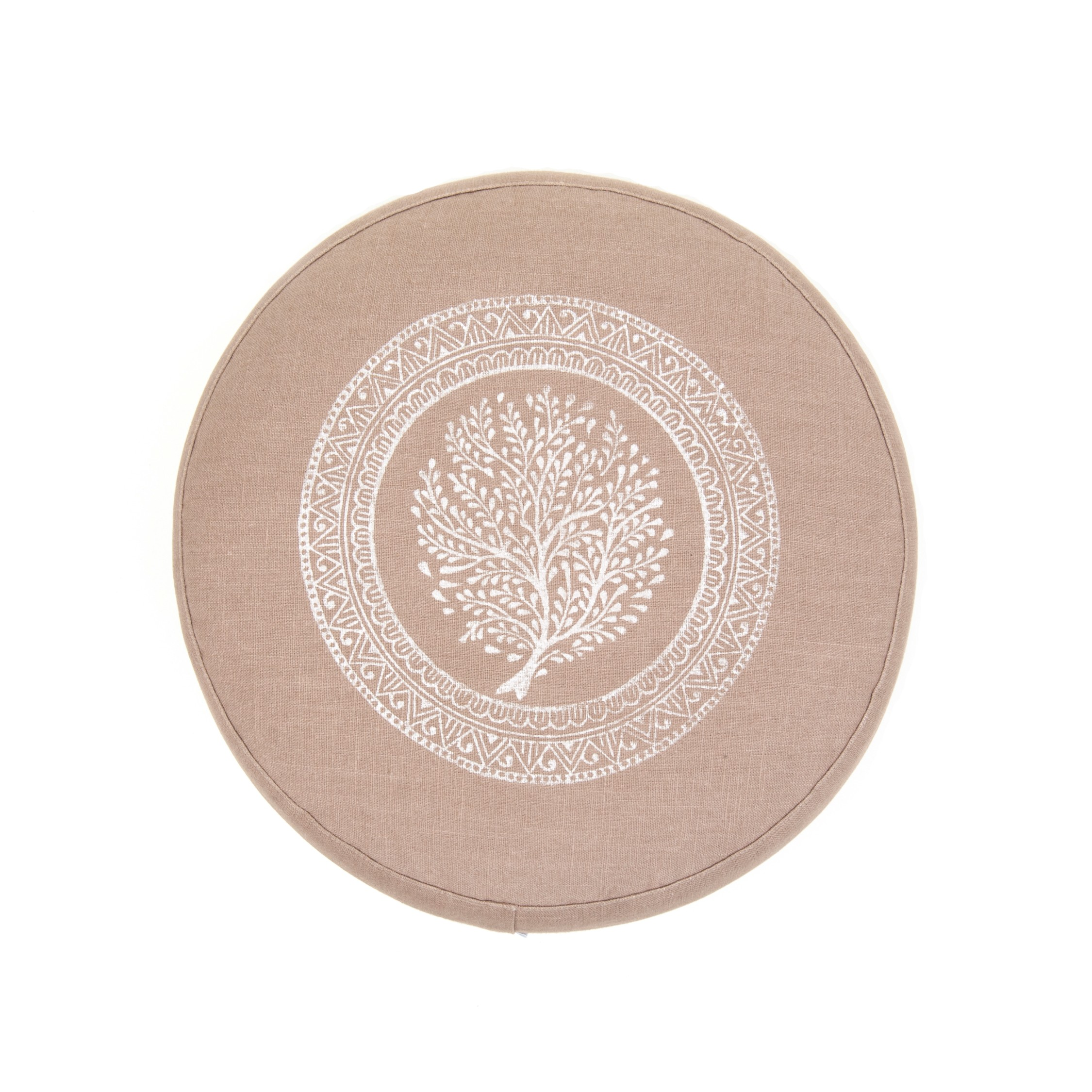 LIght brown Tree of Life meditation cushion by Pure Prana Label