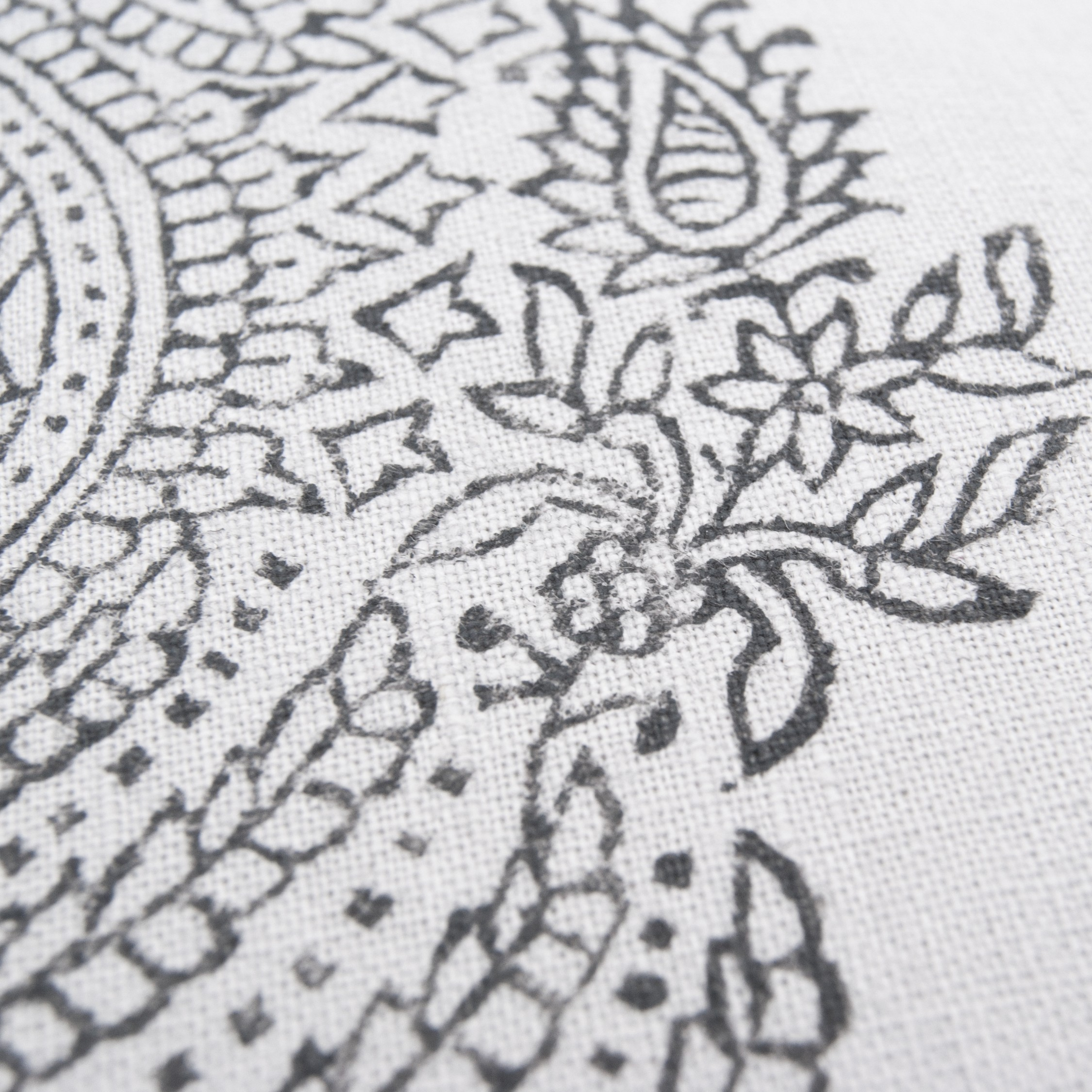Amazing detail on the the Paisley printed zafu by Pure Prana Label