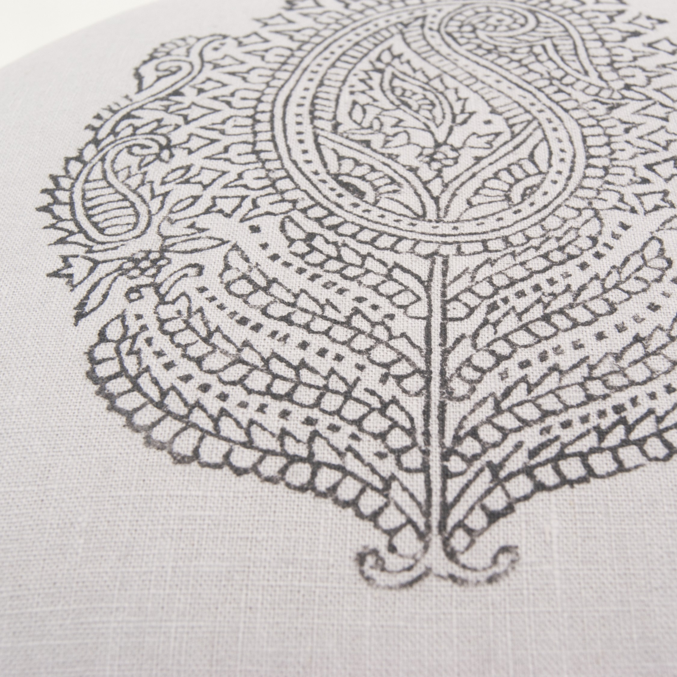 Close up of the handprinted Paisley print on the meditation cushion by Pure Prana Label