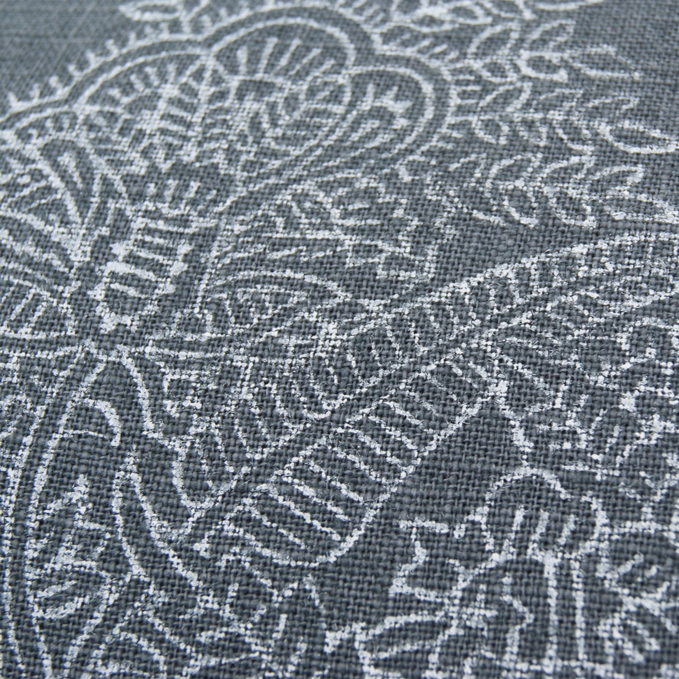 Close up print flower on the half moon cushion