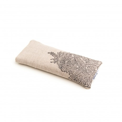 Amethyst eye pillow in natural undyed flax linen