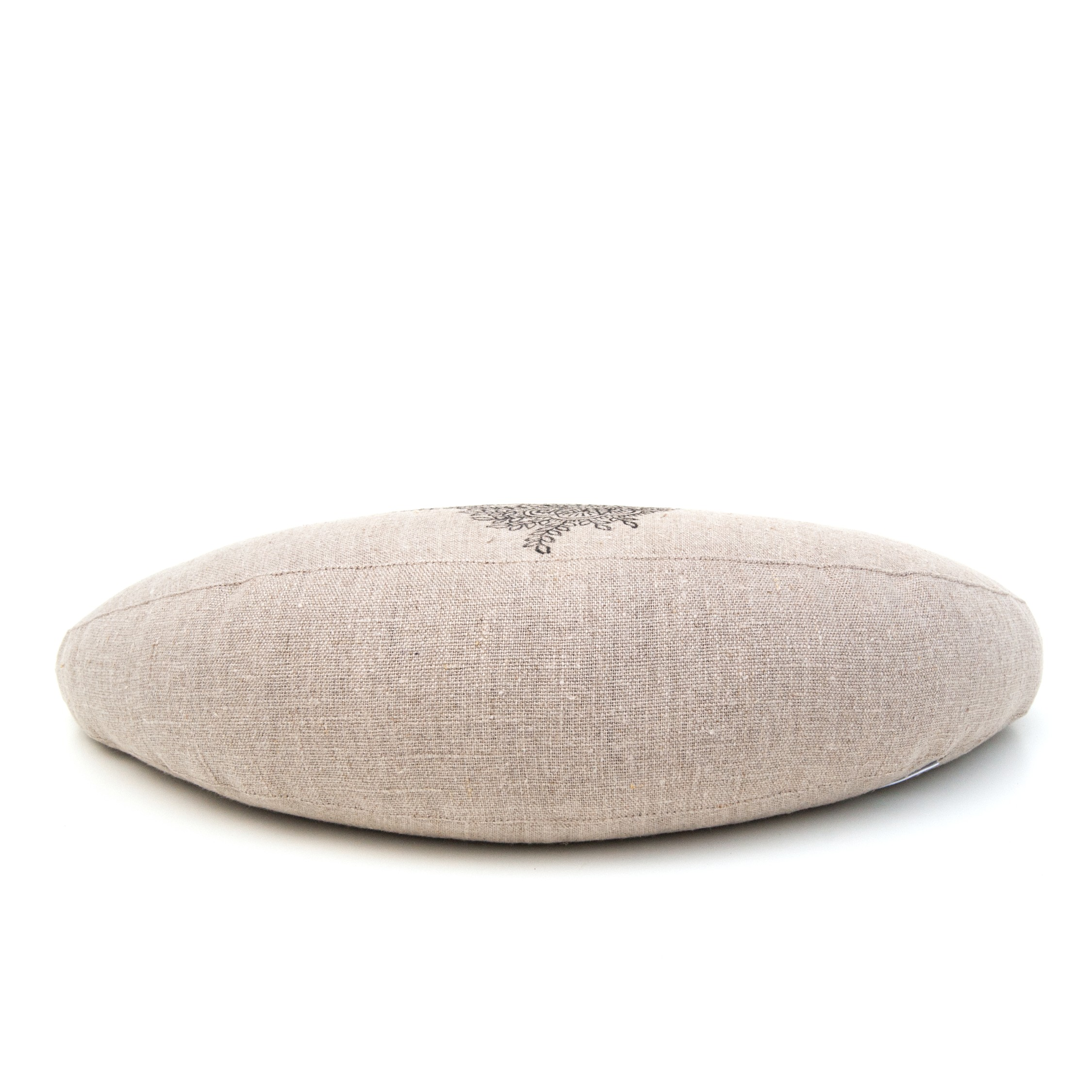 Back of the half moon meditation cushion by Pure Prana Label